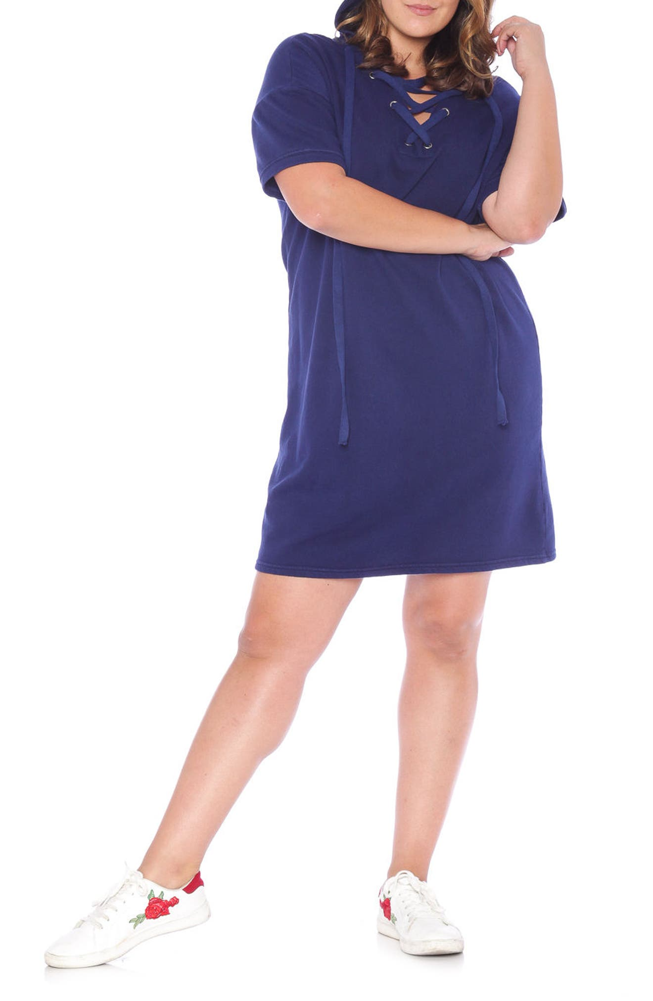 Lace-Up Hoodie Dress,                             Alternate thumbnail 3, color,                             NAVY
