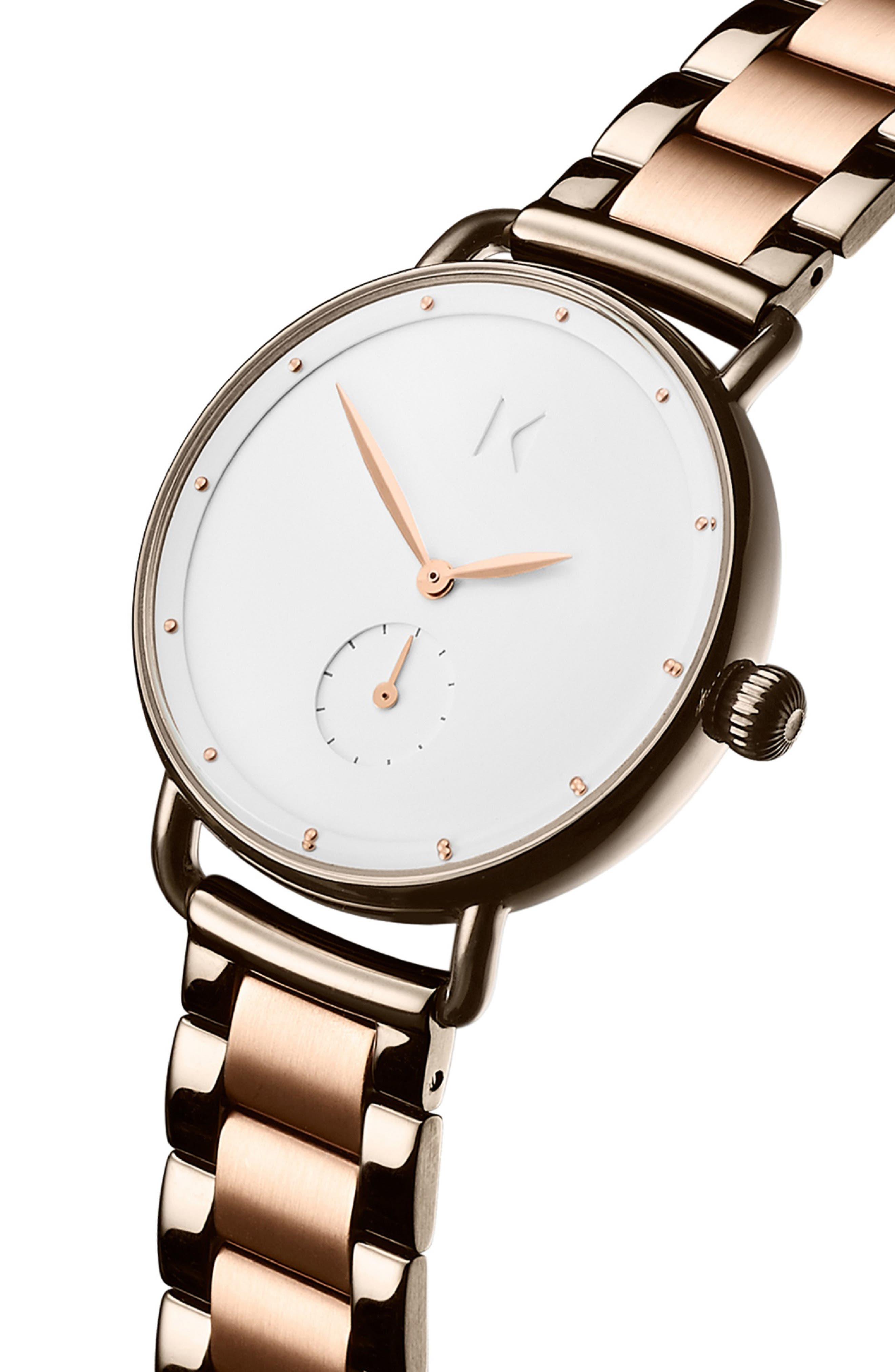 Bloom Bracelet Watch, 36mm,                             Alternate thumbnail 4, color,                             ROSE GOLD/ WHITE