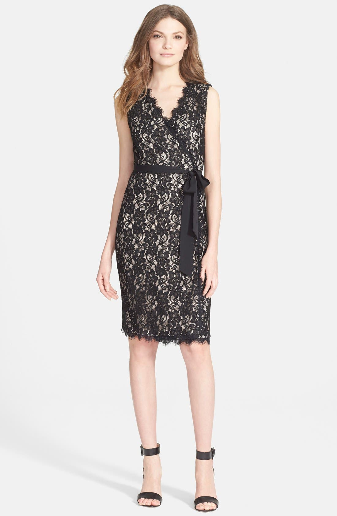 'Julianna Two' Lace Wrap Dress,                             Main thumbnail 1, color,                             003