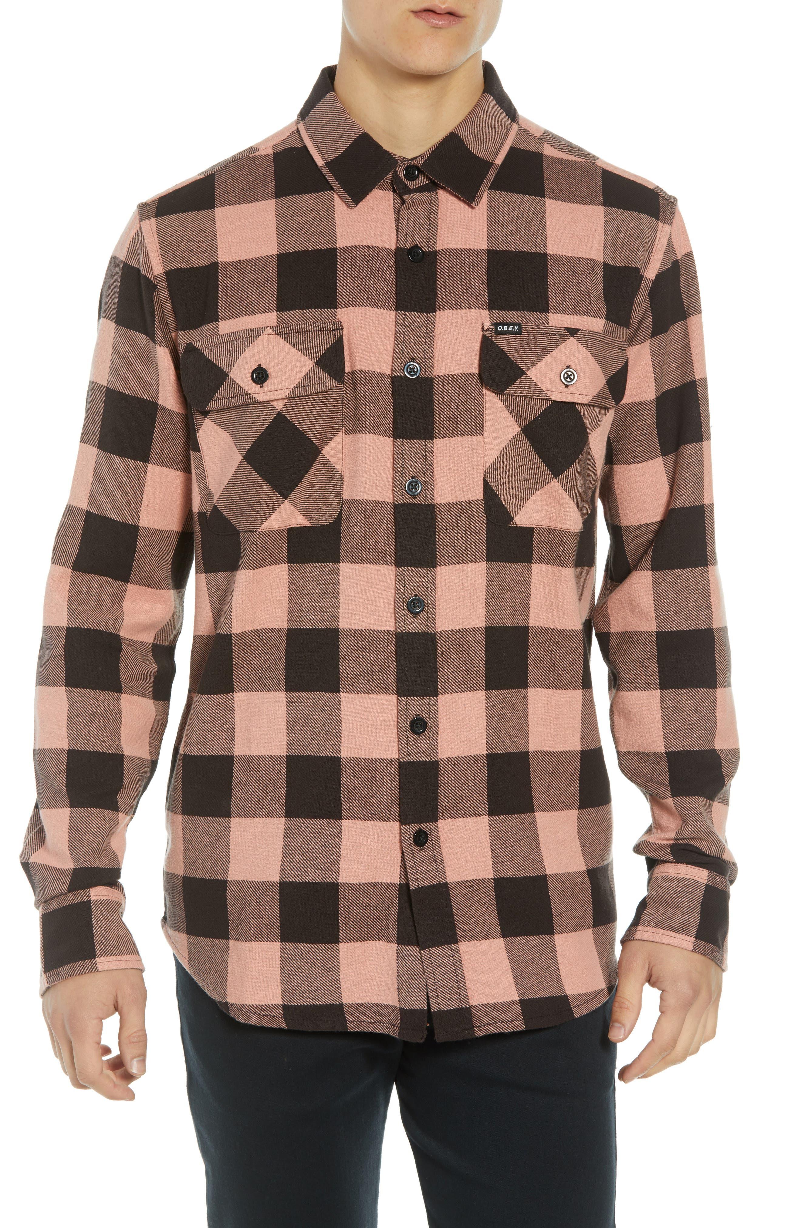 OBEY Vedder Buffalo Check Regular Fit Shirt in Rose Multi