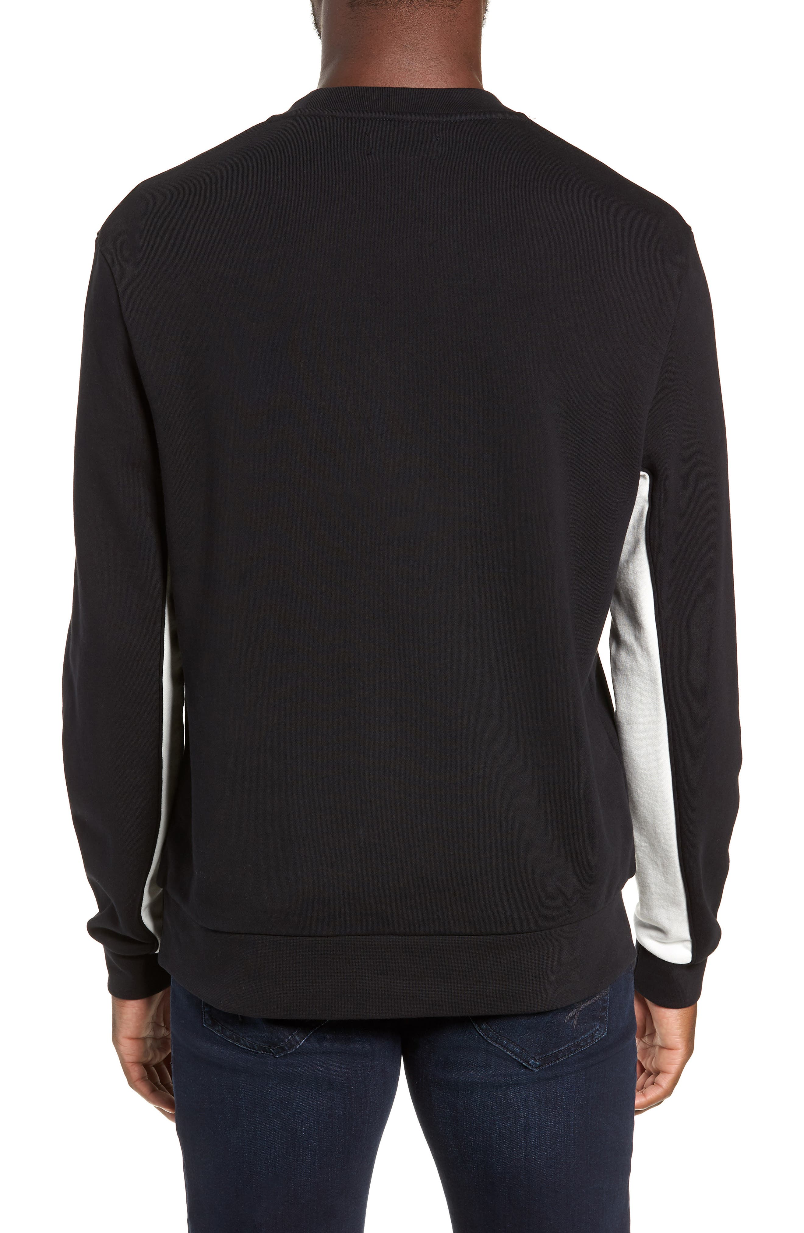 Colorblock Crewneck Sweatshirt,                             Alternate thumbnail 2, color,                             BLACK
