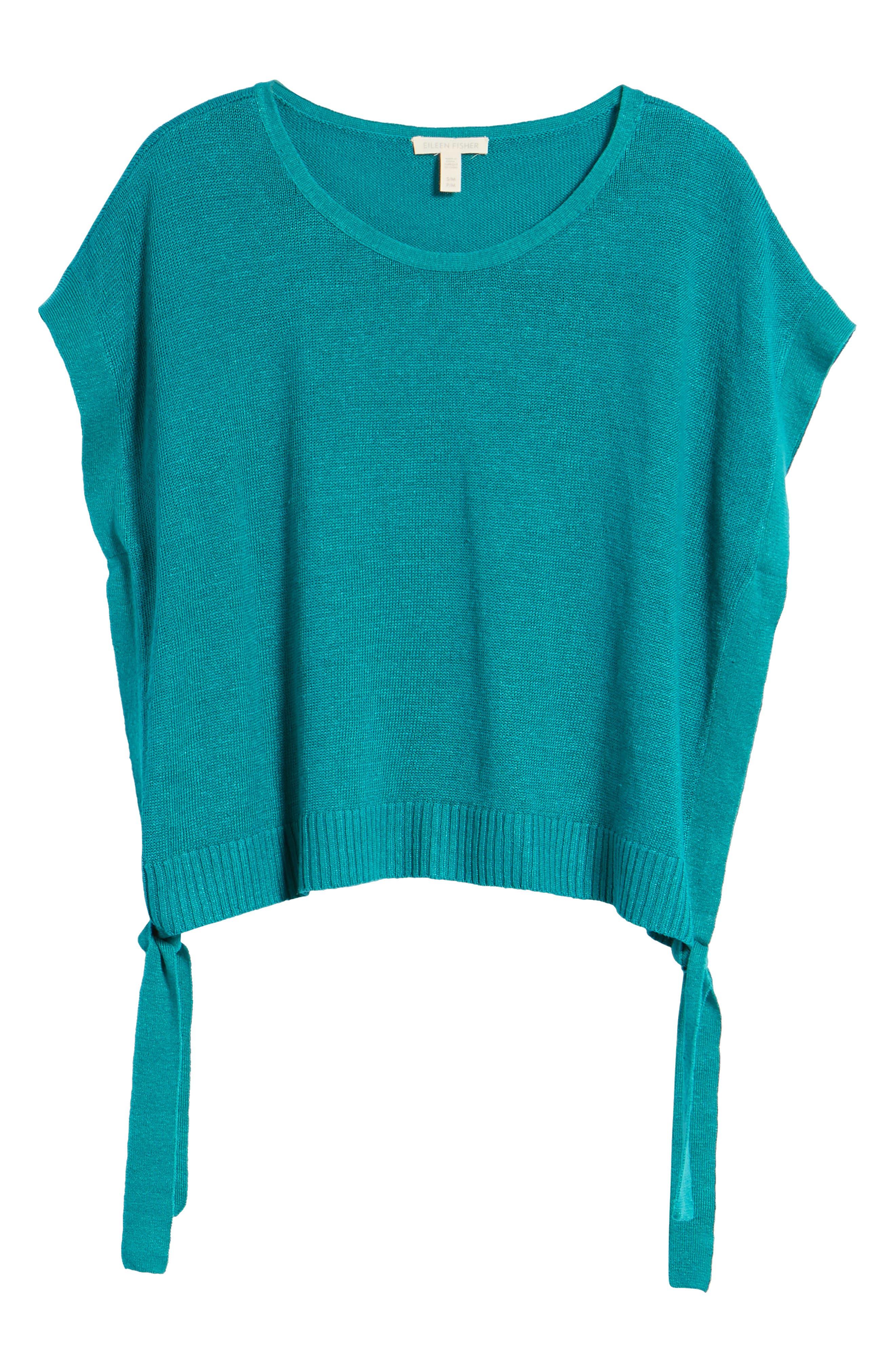 Short Organic Linen Poncho Top,                             Alternate thumbnail 29, color,