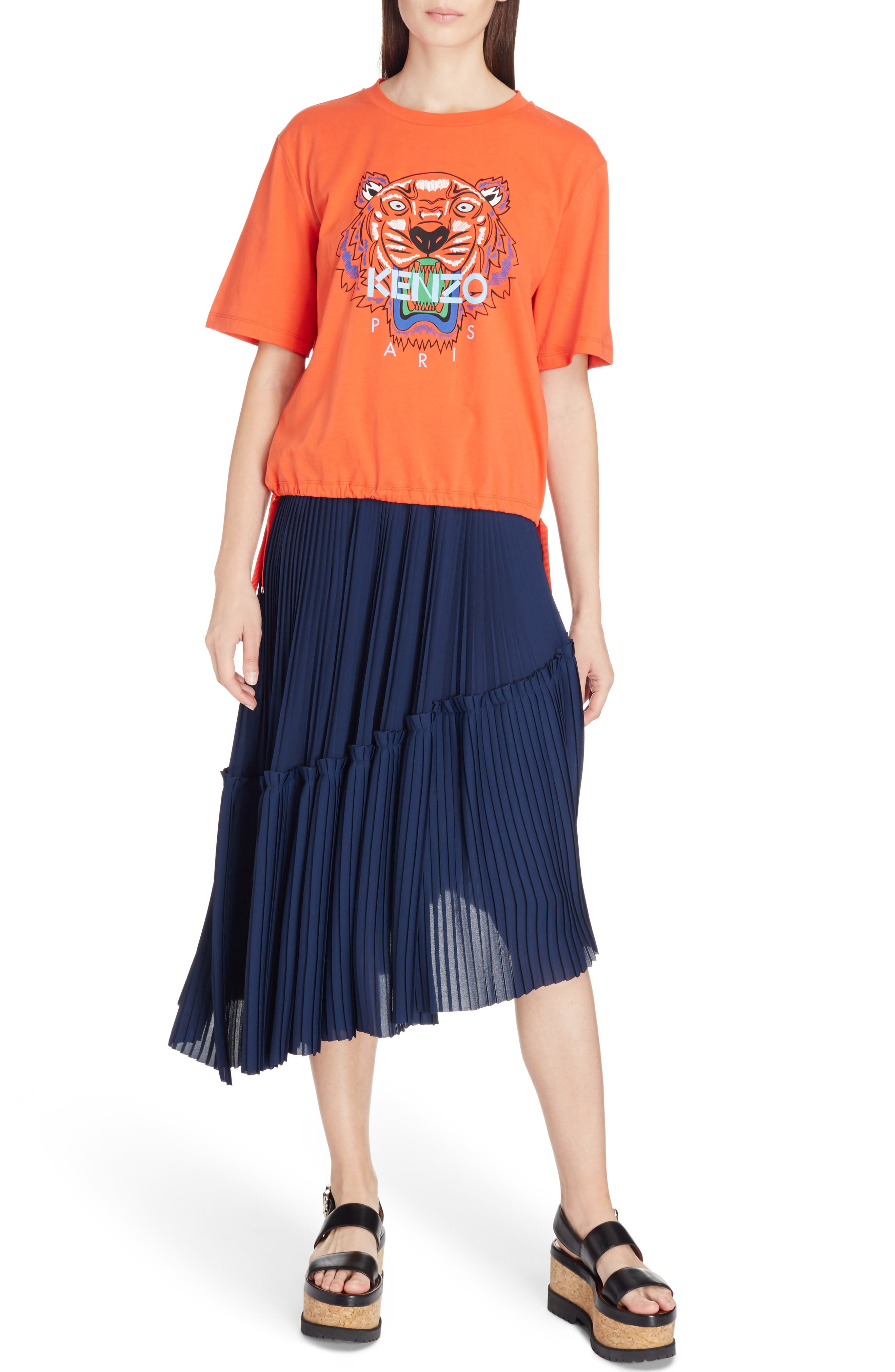 Asymmetrical Pleated Midi Skirt,                             Alternate thumbnail 6, color,                             402