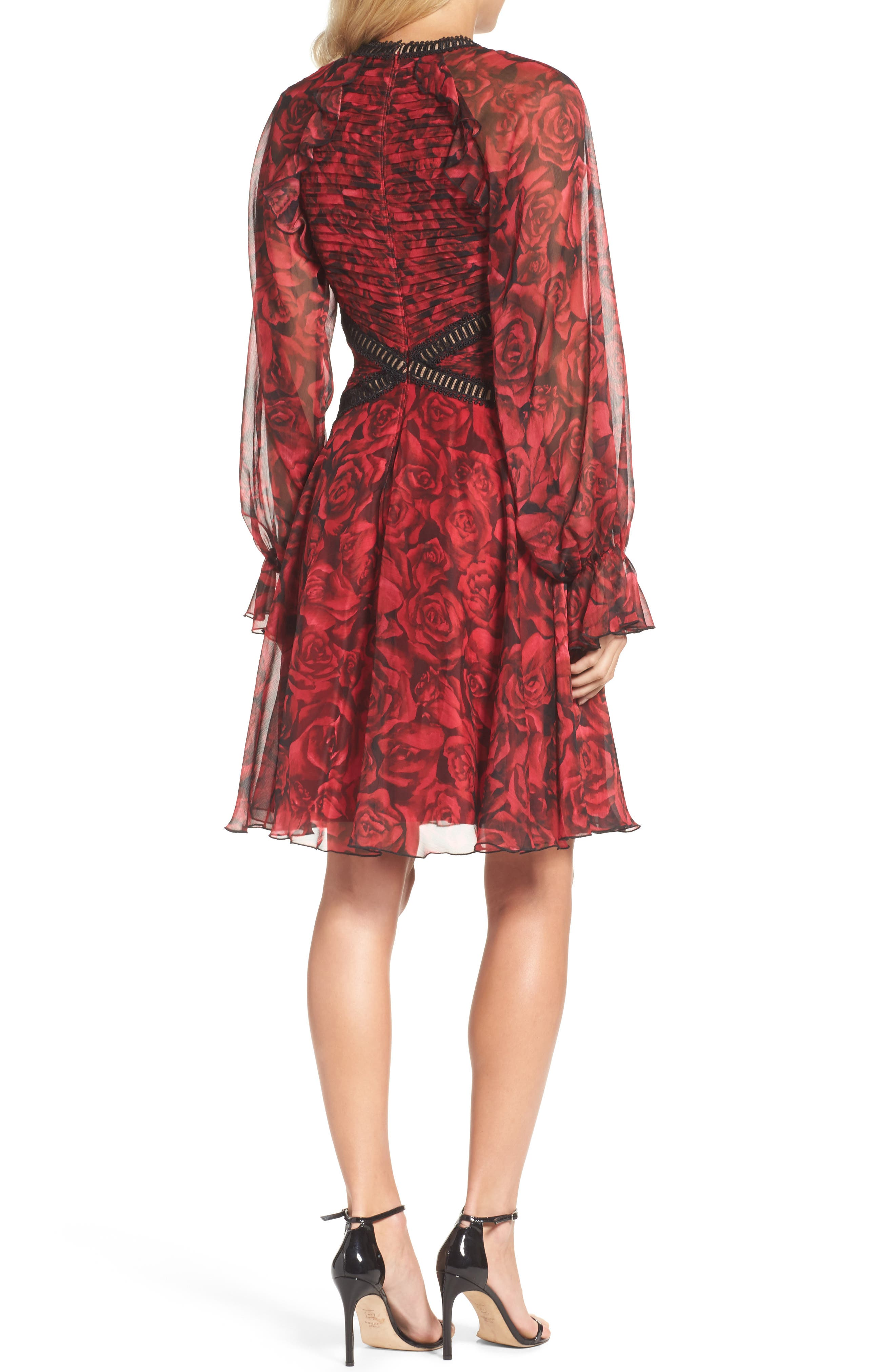 Rose Print Pleated Chiffon Dress,                             Alternate thumbnail 2, color,                             616