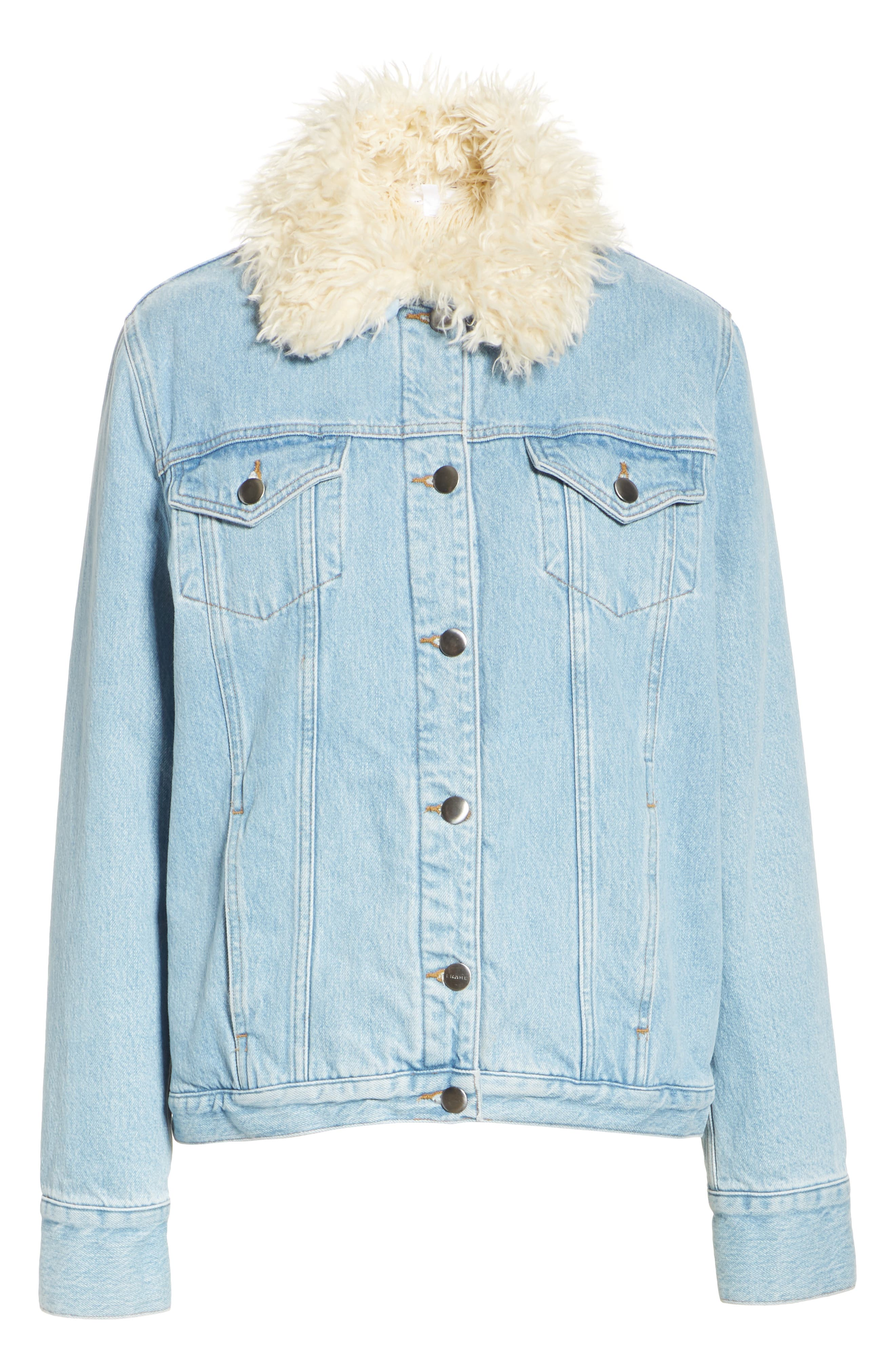 Le Curly Faux Shearling Collar Denim Jacket,                             Alternate thumbnail 6, color,                             MONROE