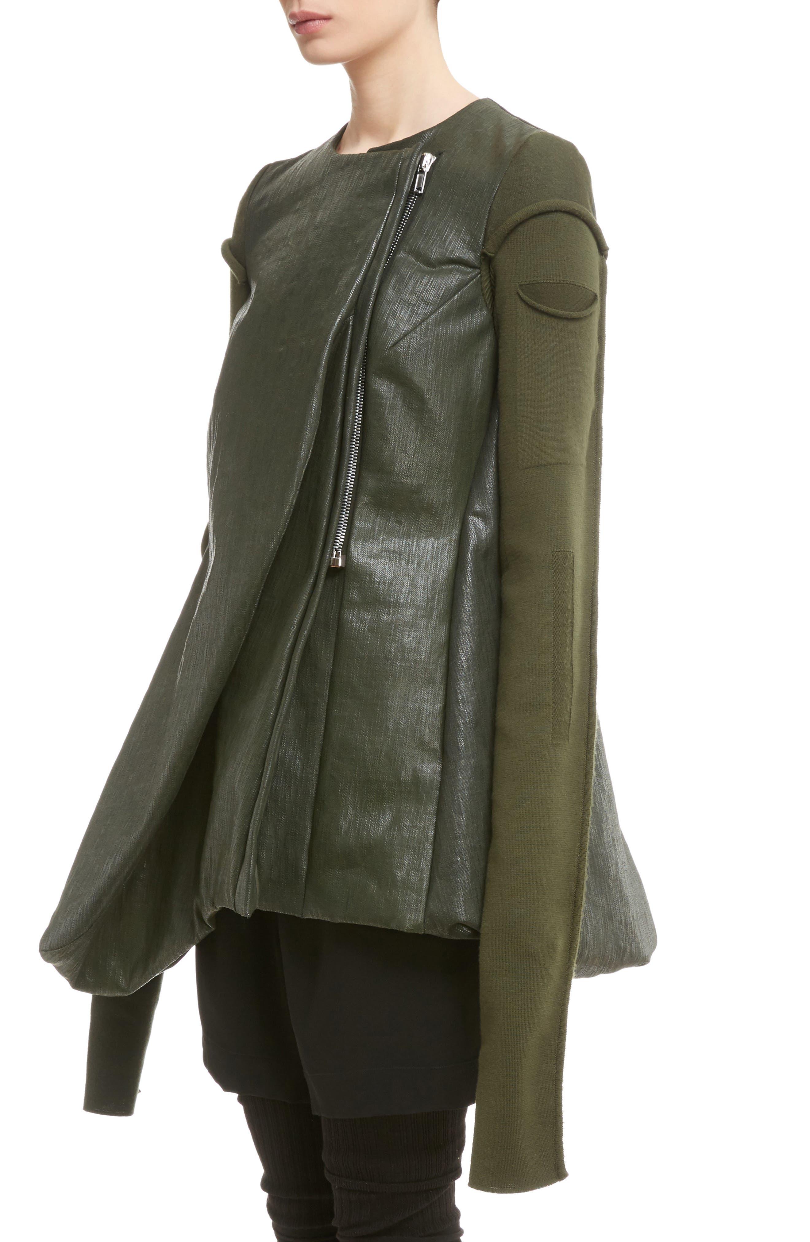 Knit Sleeve Waxed Cotton Jacket,                             Alternate thumbnail 4, color,