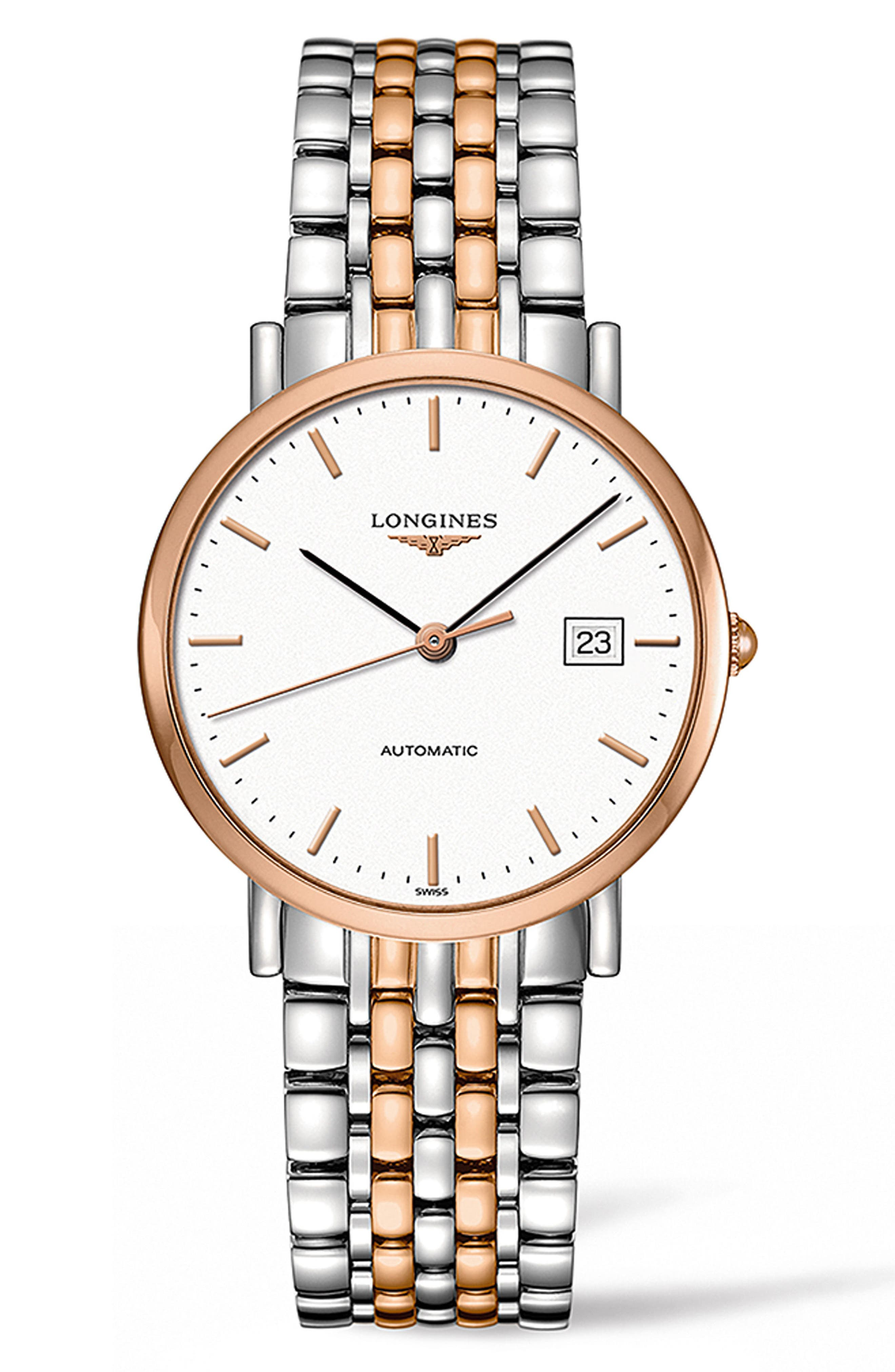 LONGINES,                             Elegant Automatic Bracelet Watch, 37mm,                             Main thumbnail 1, color,                             SILVER/ WHITE/ ROSE GOLD