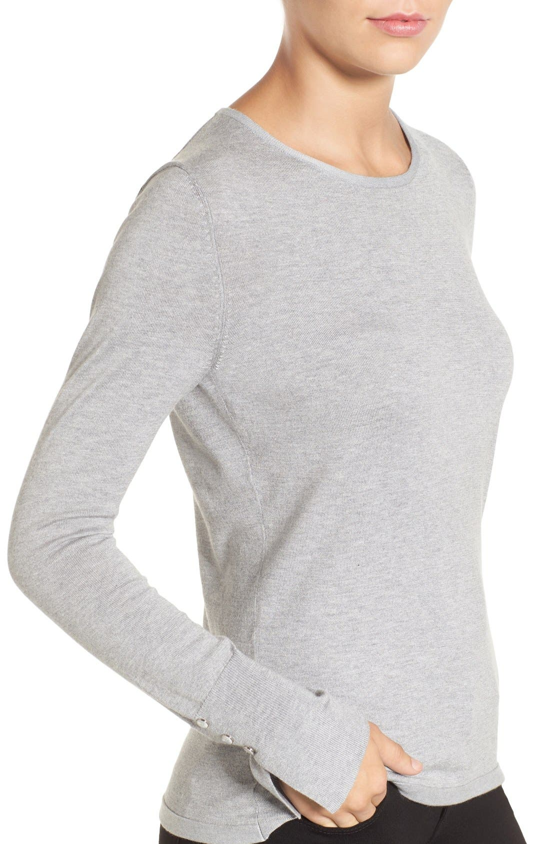 Cuff Detail Silk Blend Crewneck Sweater,                             Alternate thumbnail 4, color,                             030