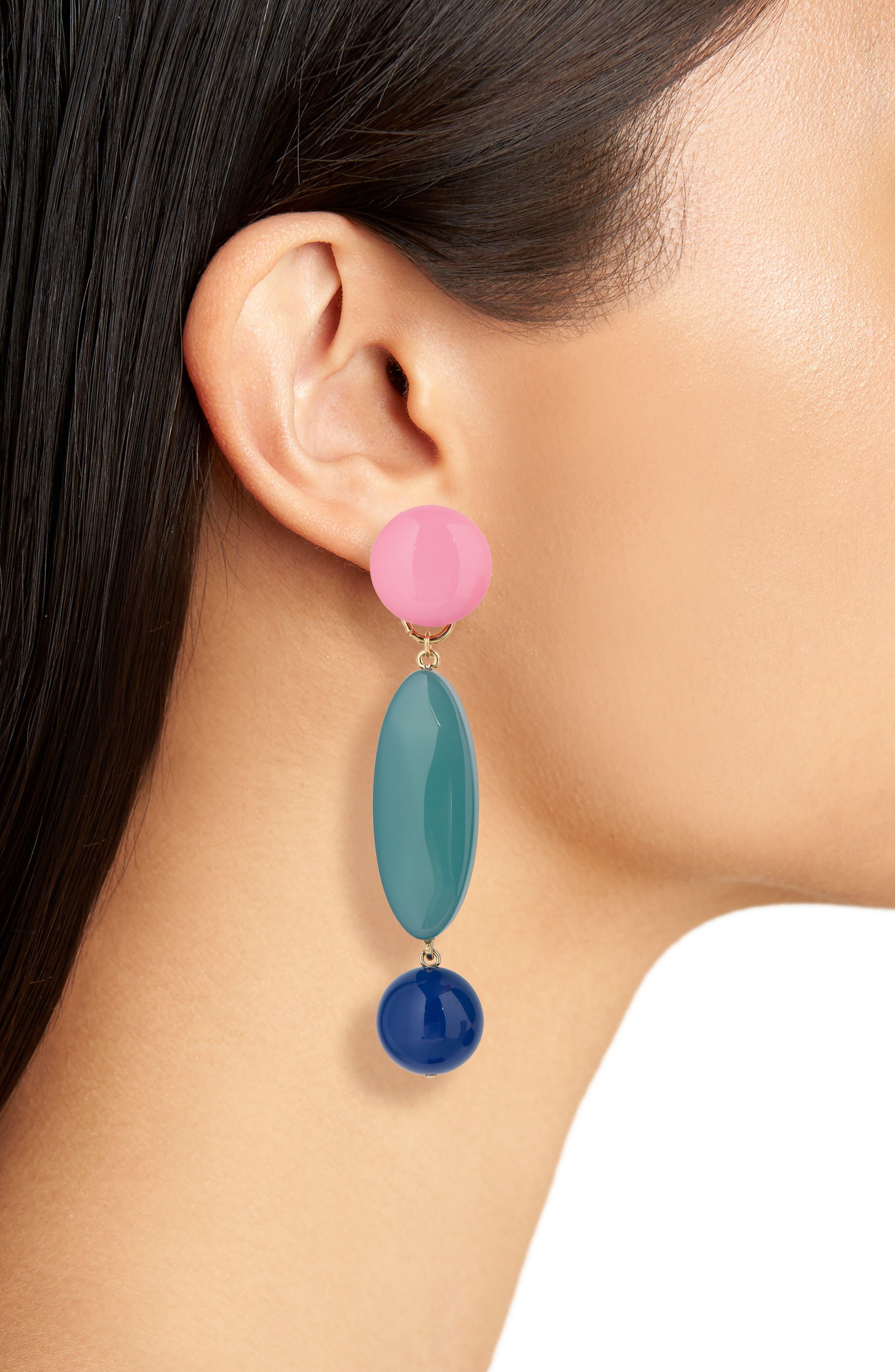 Roundoff Drop Earrings,                             Alternate thumbnail 2, color,                             JADE LAPIS