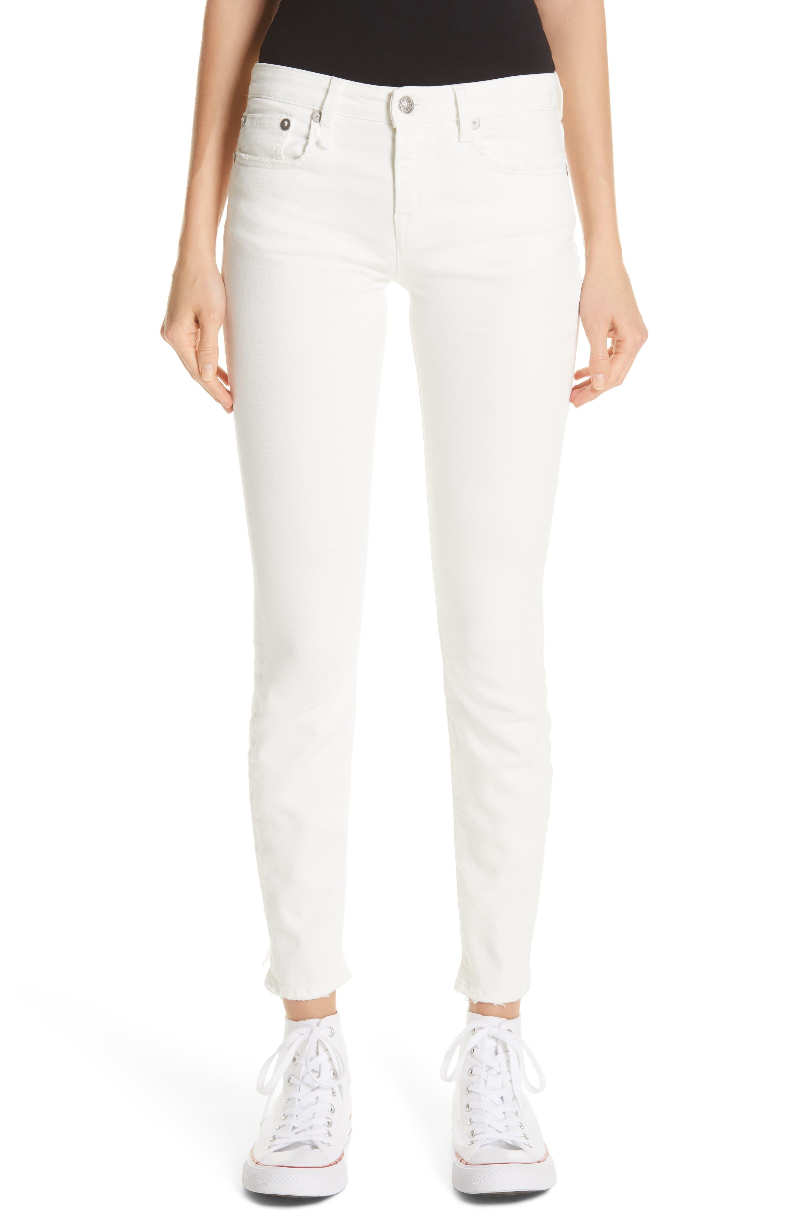 R13,                             Allison Distressed Skinny Jeans,                             Main thumbnail 1, color,                             GARRET WHITE