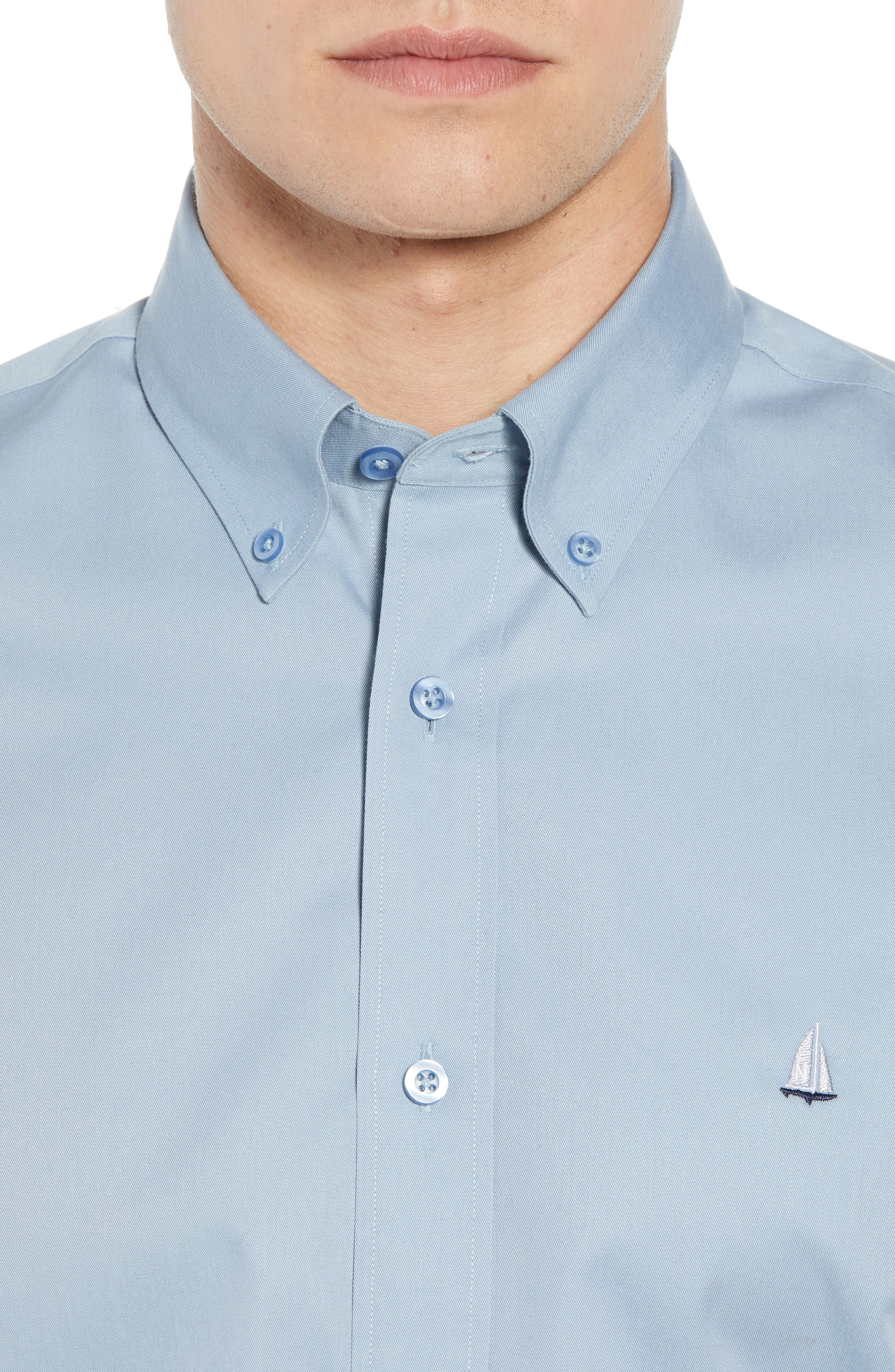 NORDSTROM MEN'S SHOP,                             Smartcare<sup>™</sup> Traditional Fit Twill Boat Shirt,                             Alternate thumbnail 4, color,                             BLUE DRIZZLE