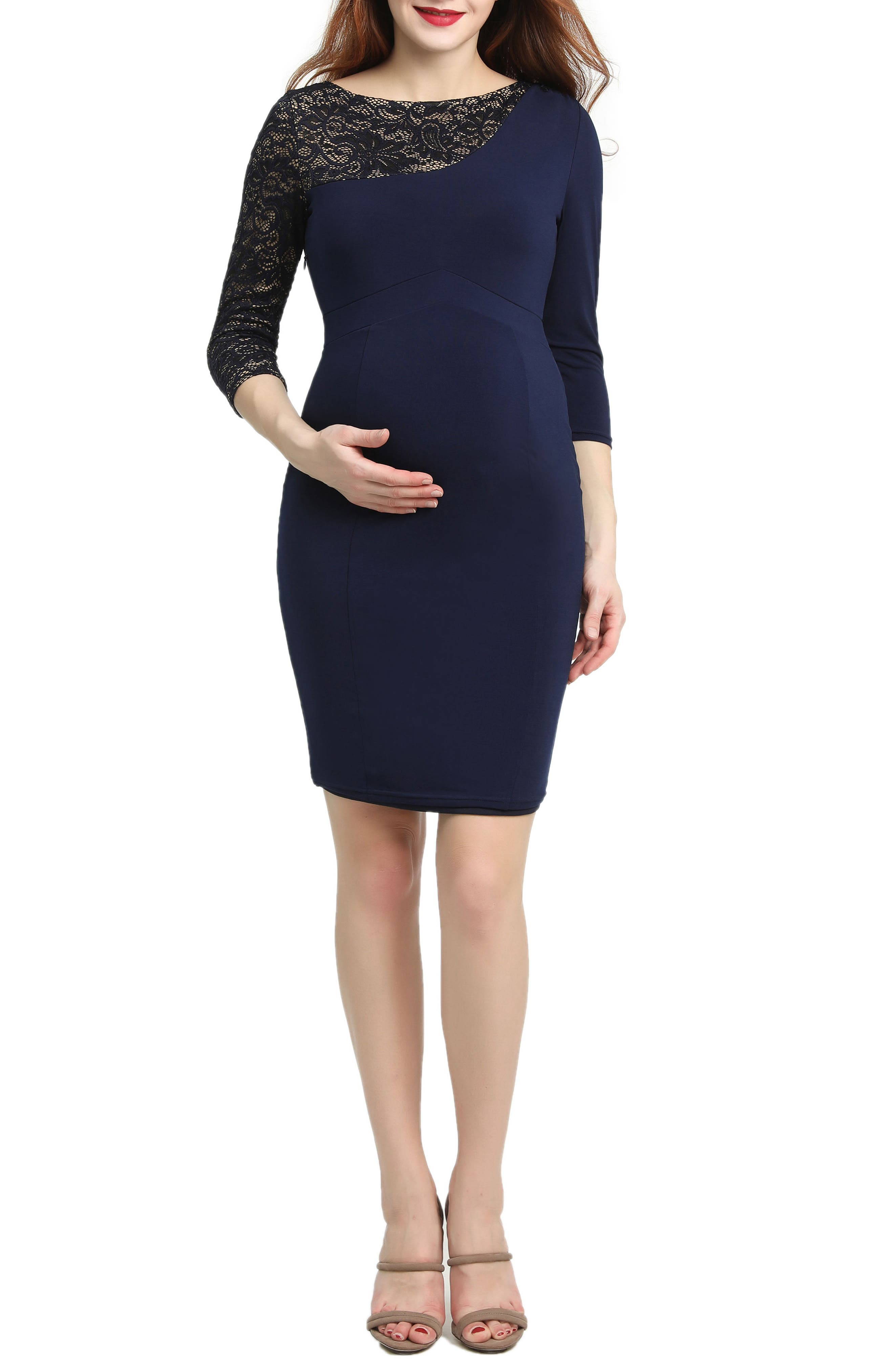 Kimi And Kai Cheyenne Lace Accent Maternity Dress, Blue