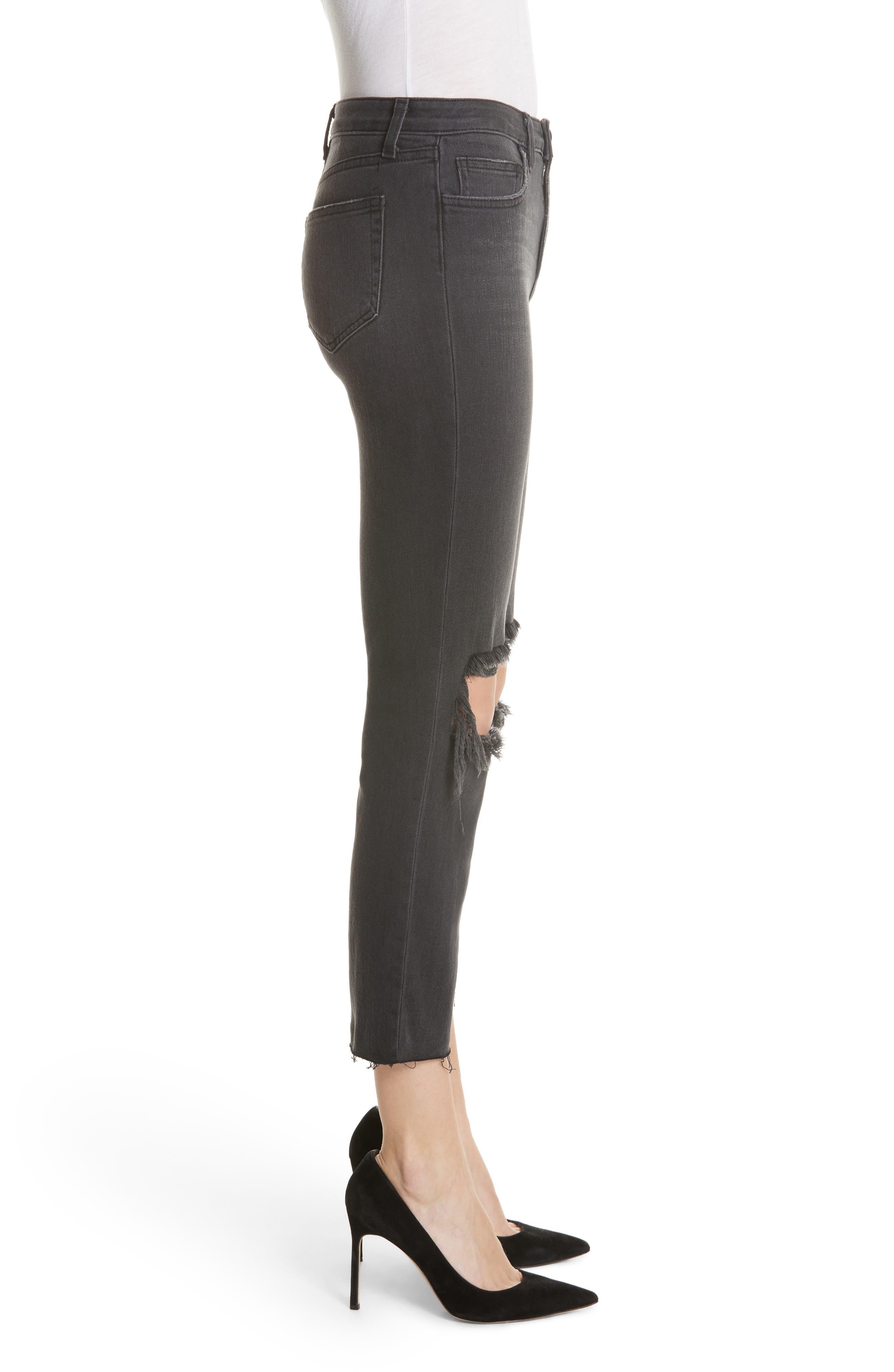 Audrina Ripped Straight Leg Jeans,                             Alternate thumbnail 3, color,                             VINTAGE BLACK WORN DESTRUCT