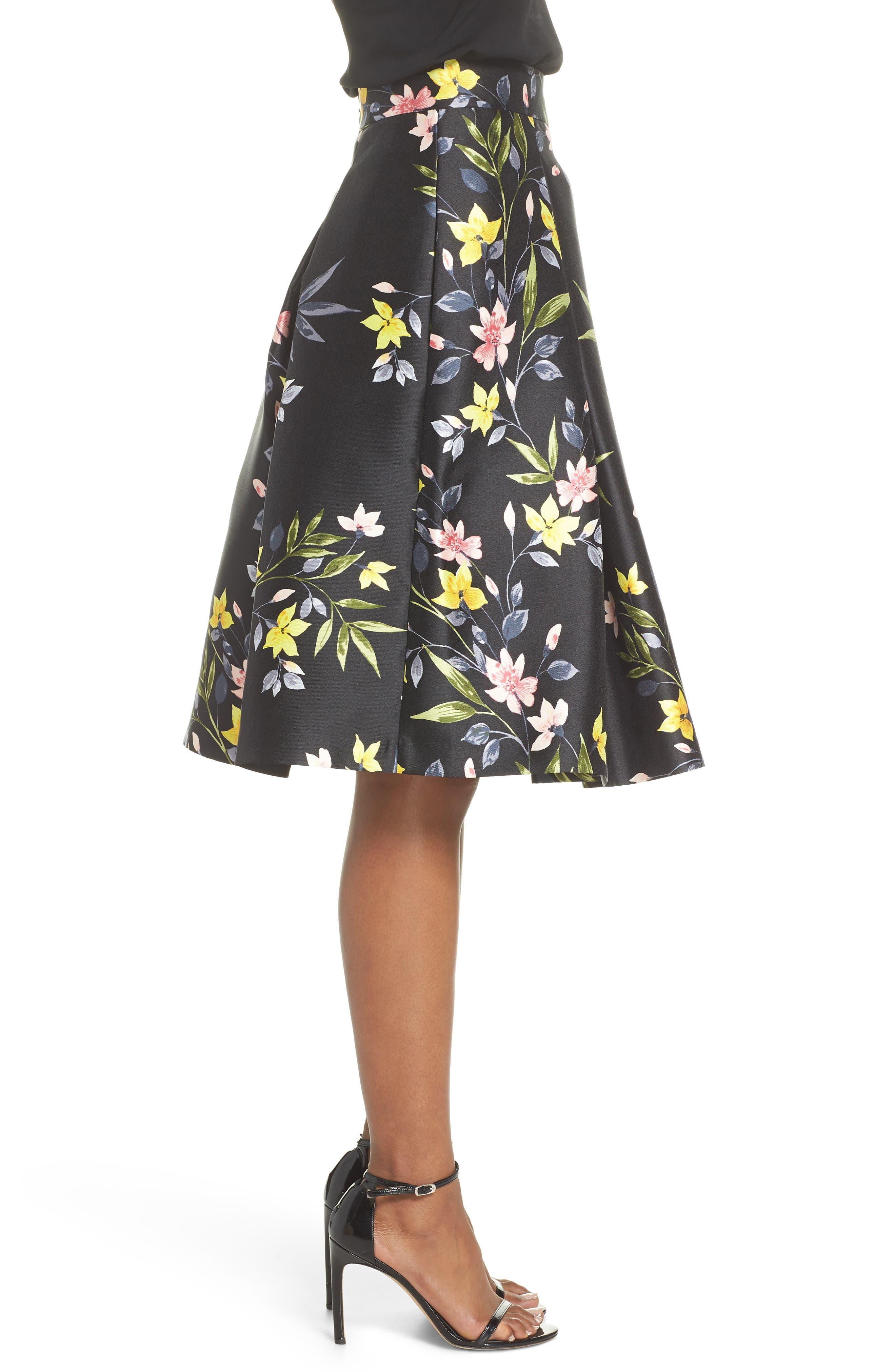 Floral A-Line Skirt,                             Alternate thumbnail 3, color,                             001