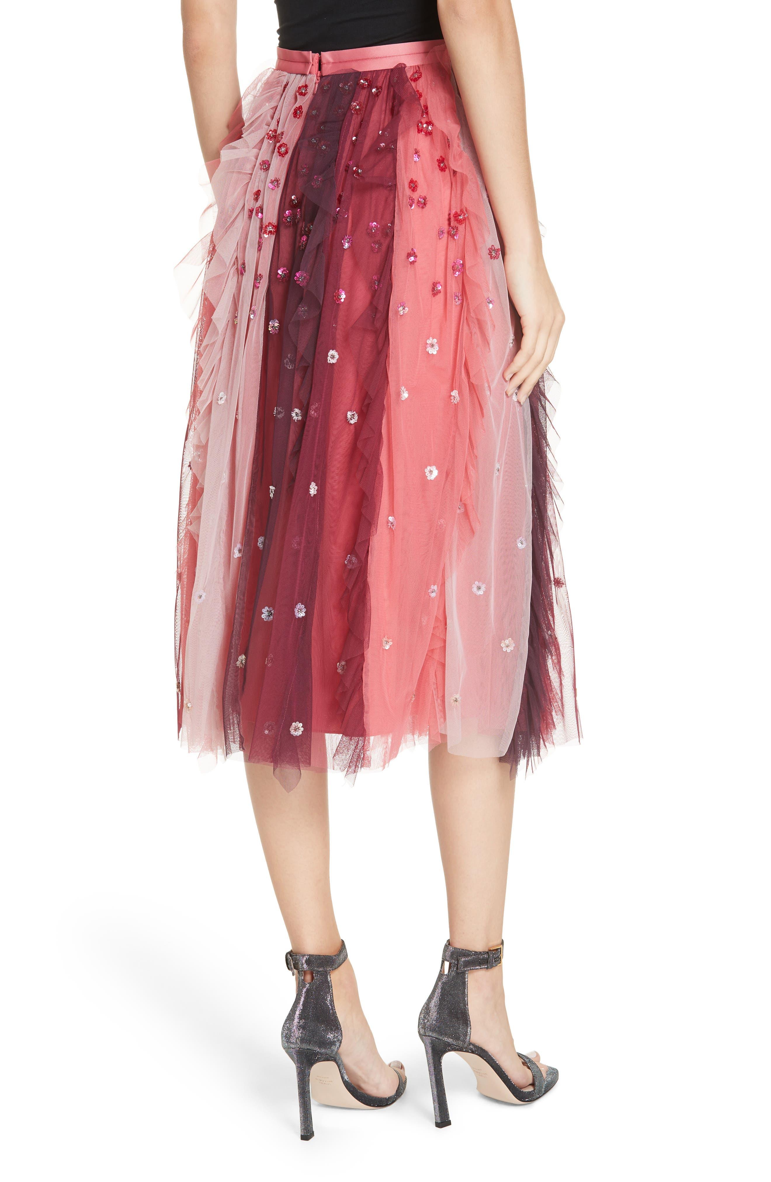 Rainbow Midi Skirt,                             Alternate thumbnail 2, color,                             CHERRY