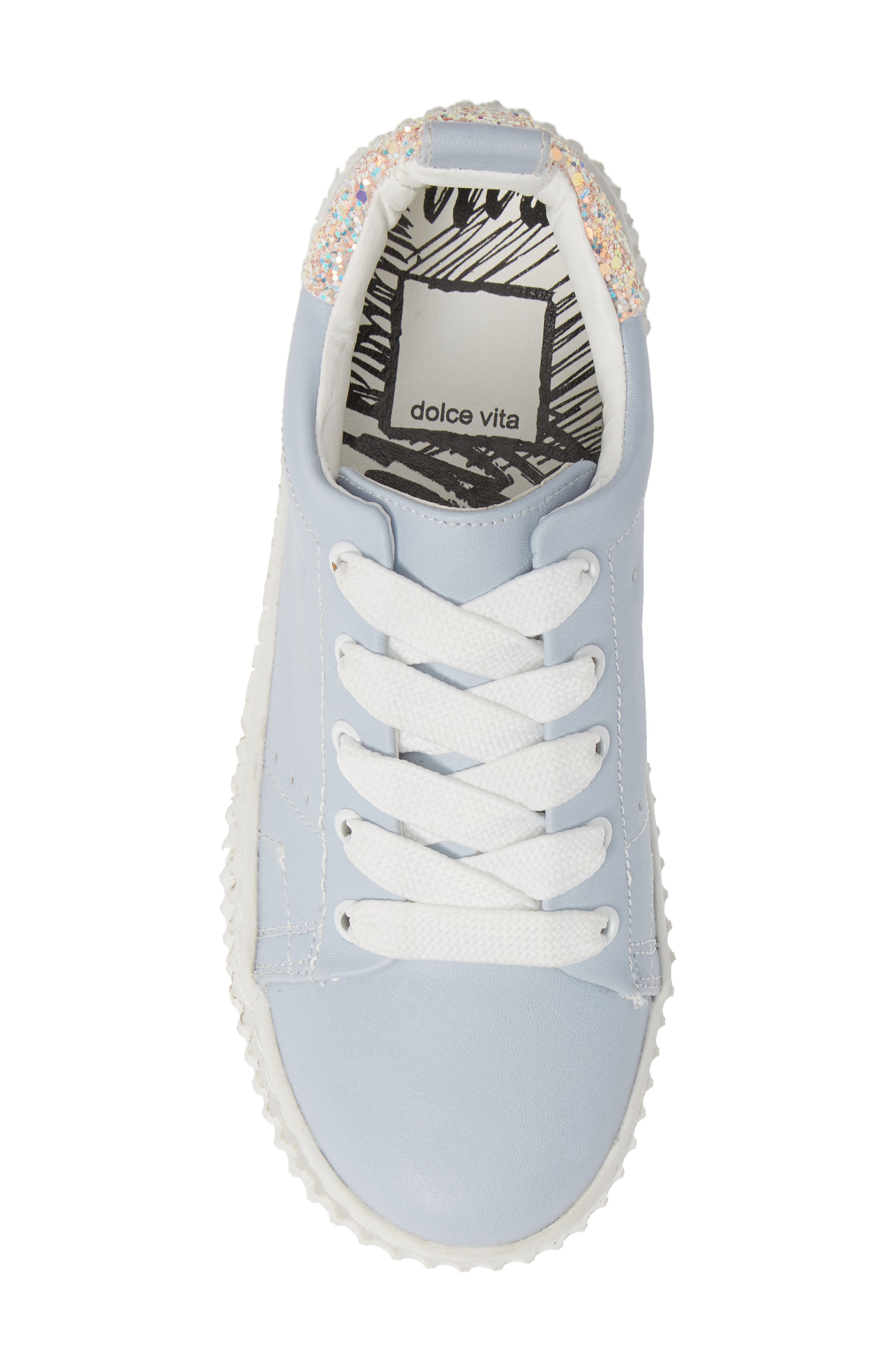 Wren Glitter Heel Sneaker,                             Alternate thumbnail 5, color,                             LIGHT BLUE