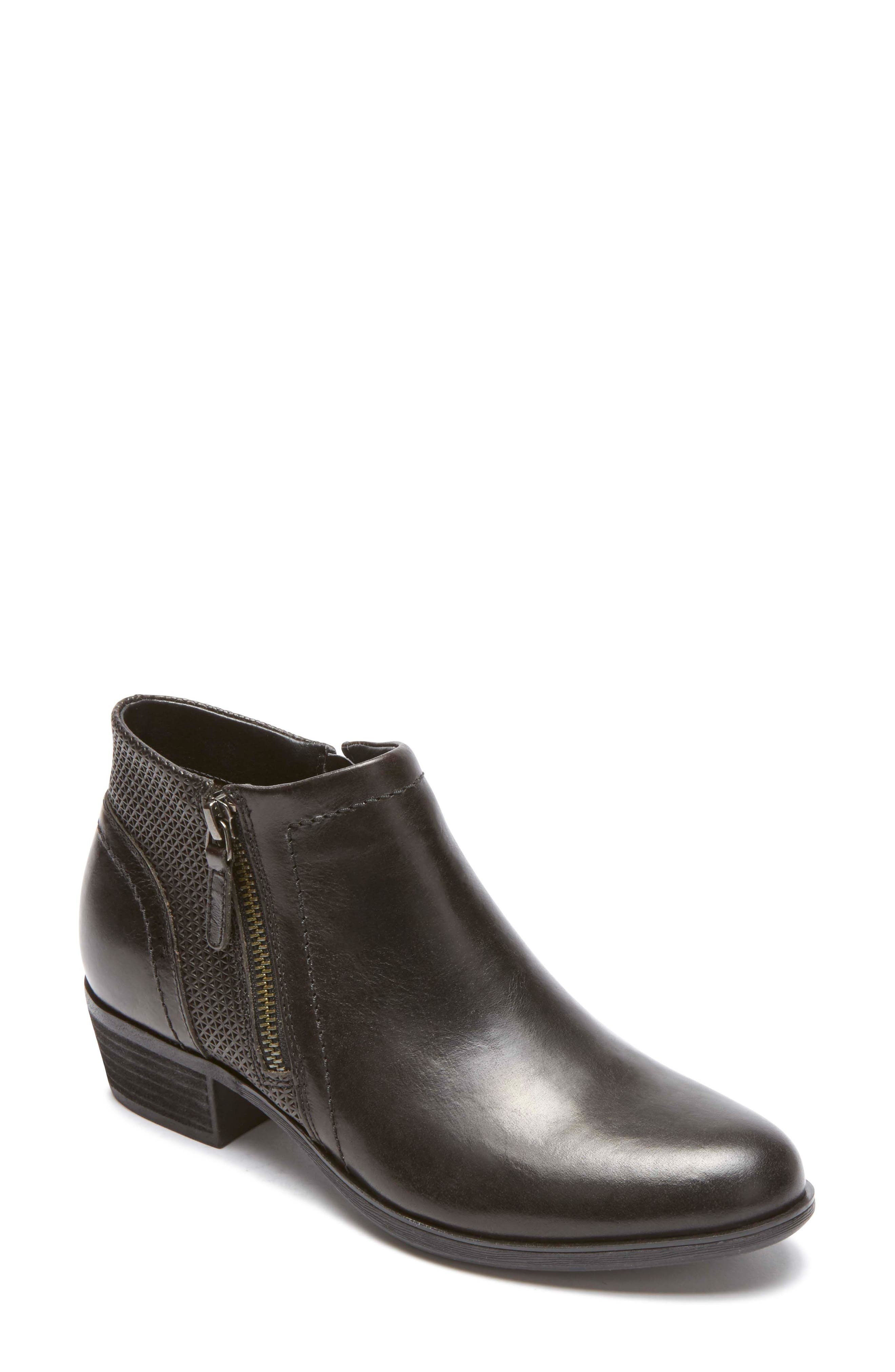 Oliana Bootie,                             Main thumbnail 1, color,                             BLACK LEATHER