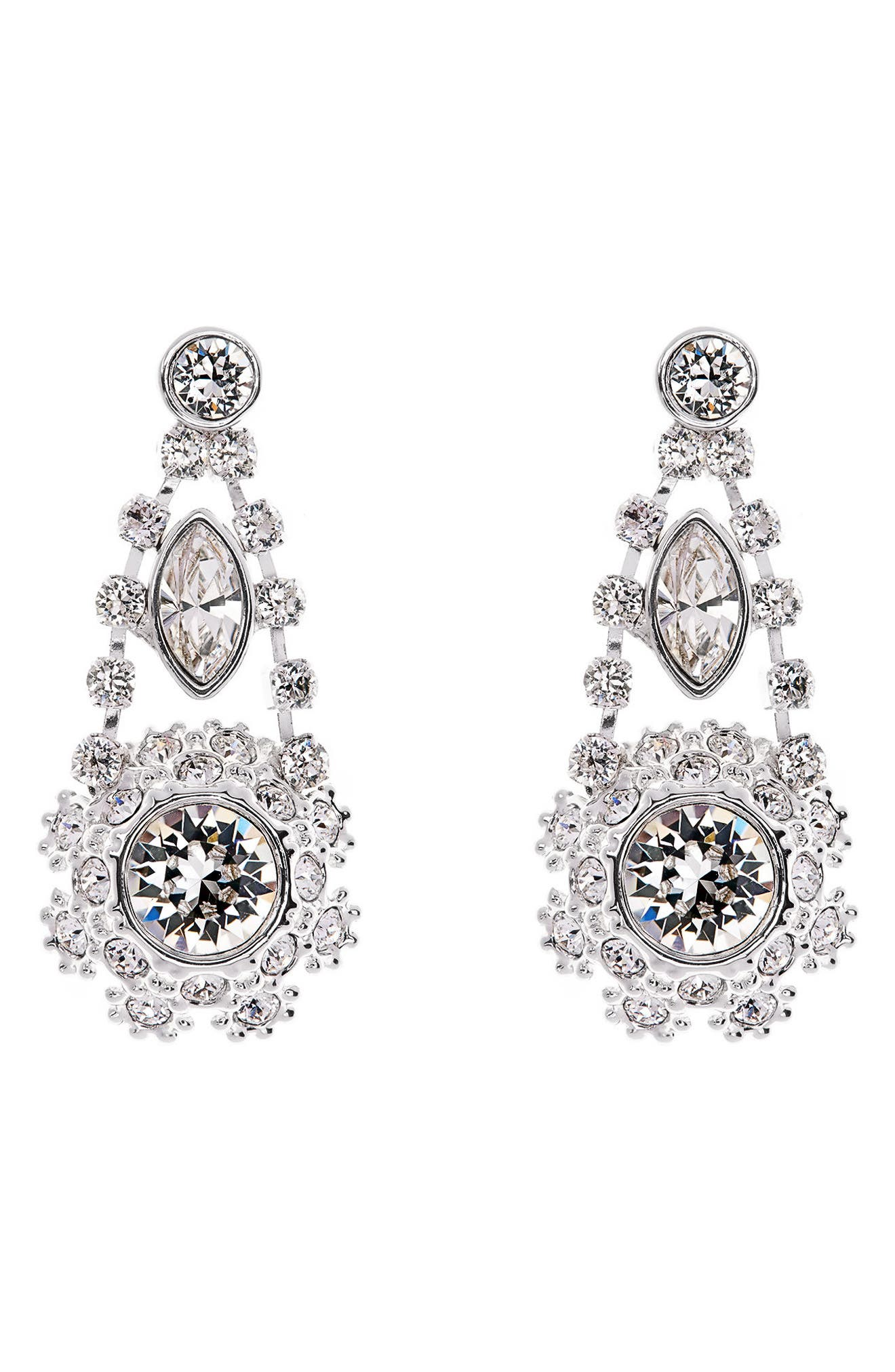 Crystal Daisy Lace Drop Earrings,                         Main,                         color, 100