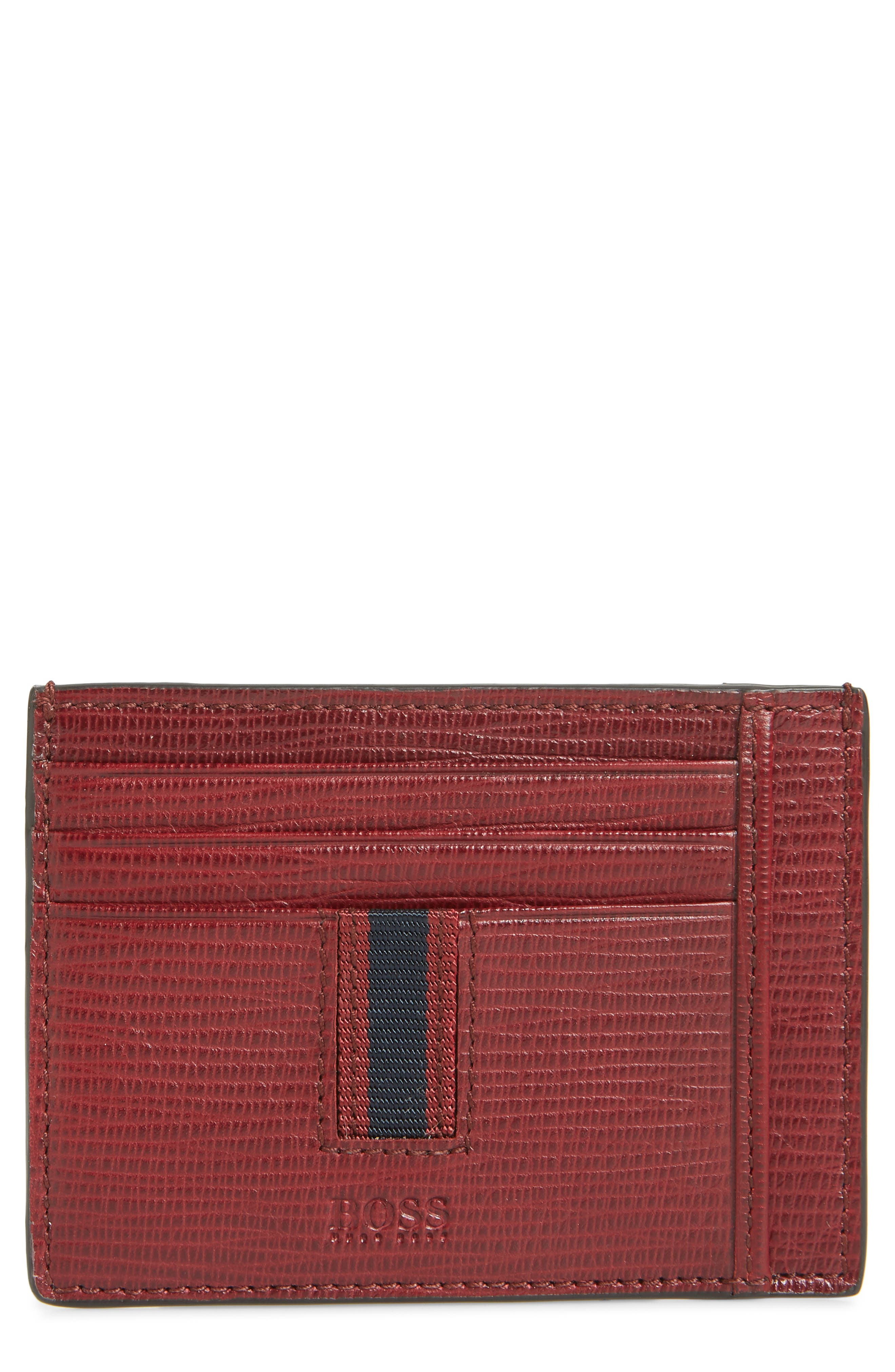 Leather Card Case,                         Main,                         color, DARK RED