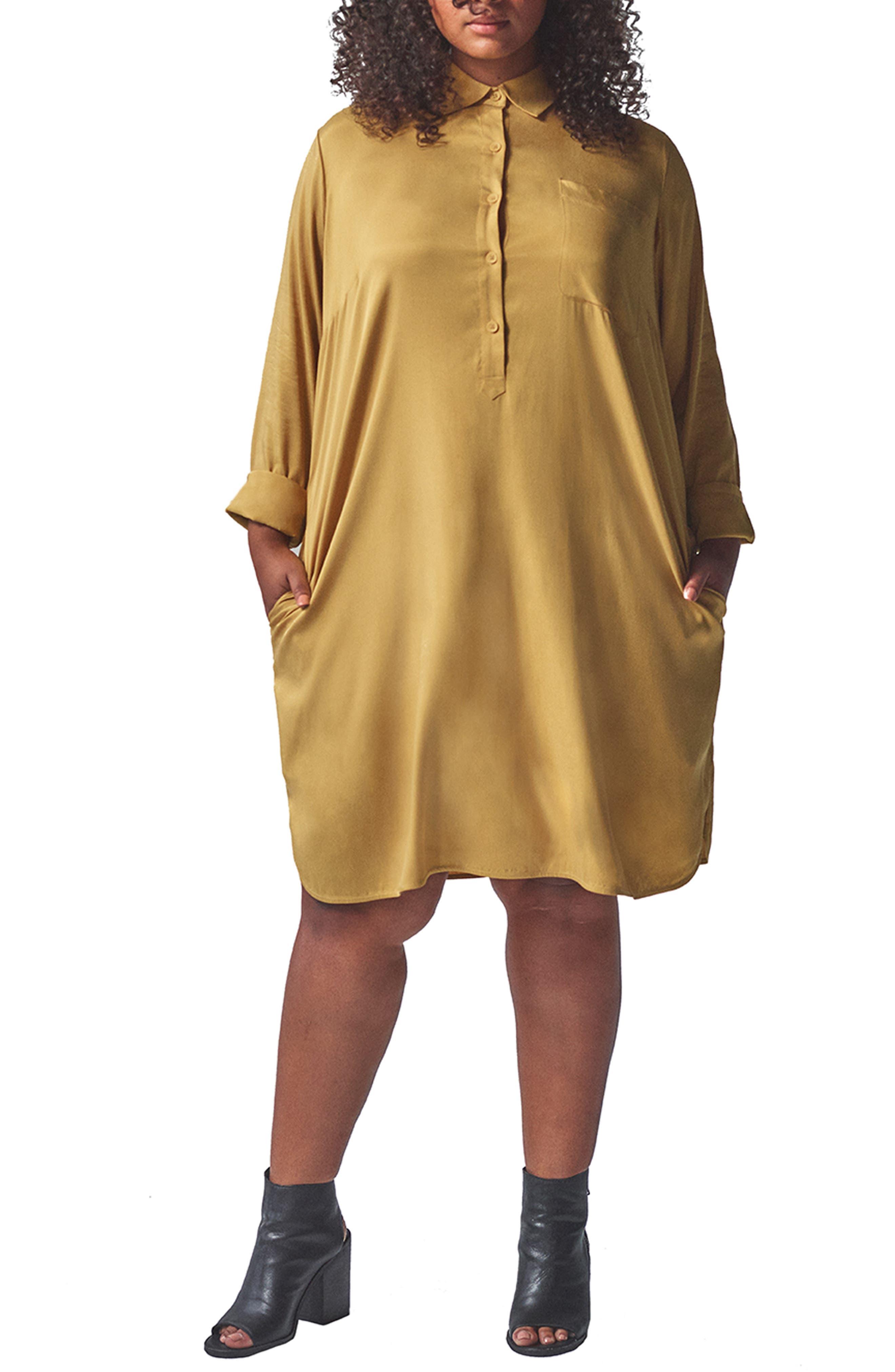Plus Size Universal Standard Rubicon Shirtdress, Size XS (14-16) - Yellow