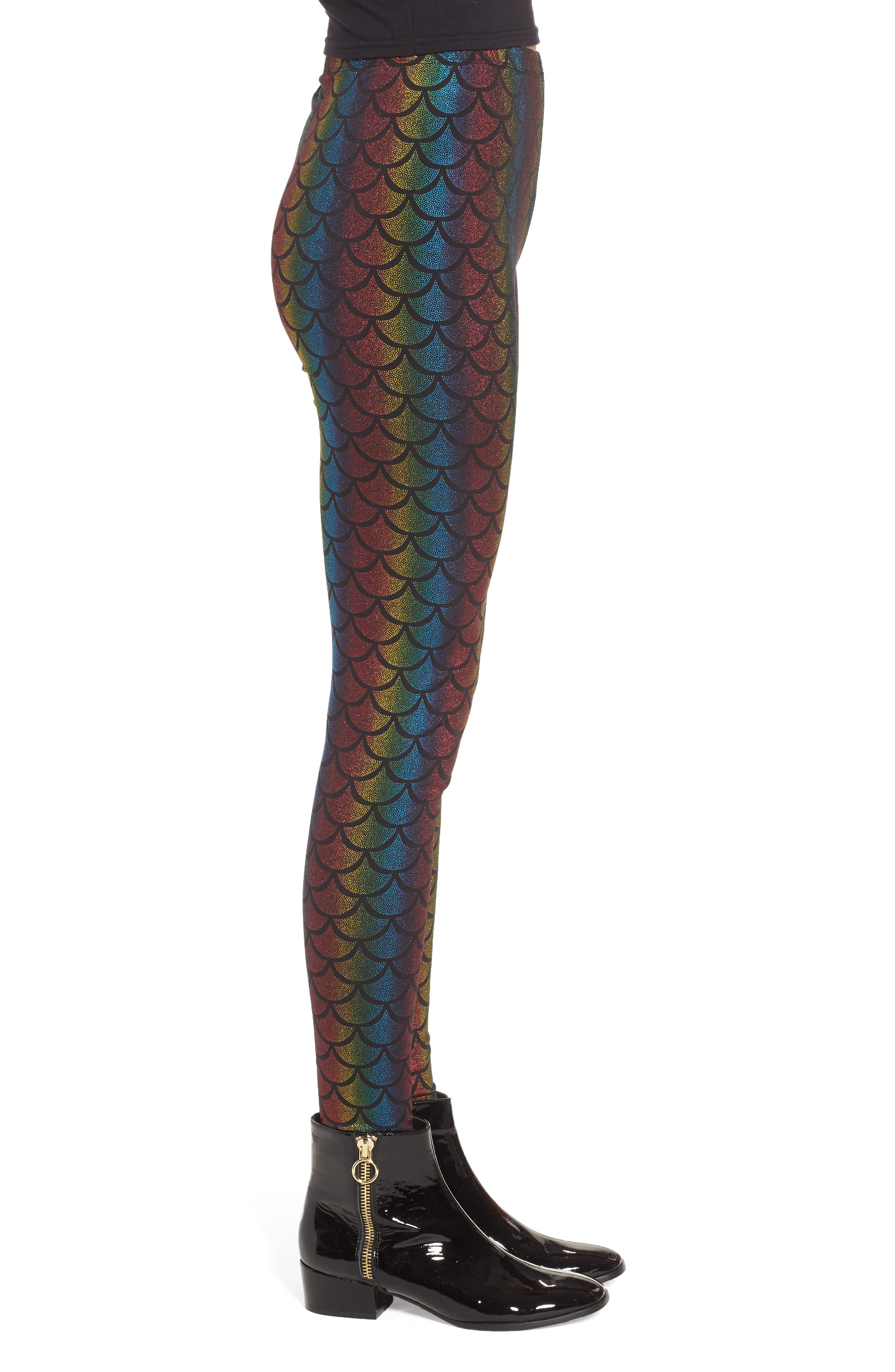 Rainbow Mermaid Leggings,                             Alternate thumbnail 3, color,                             001