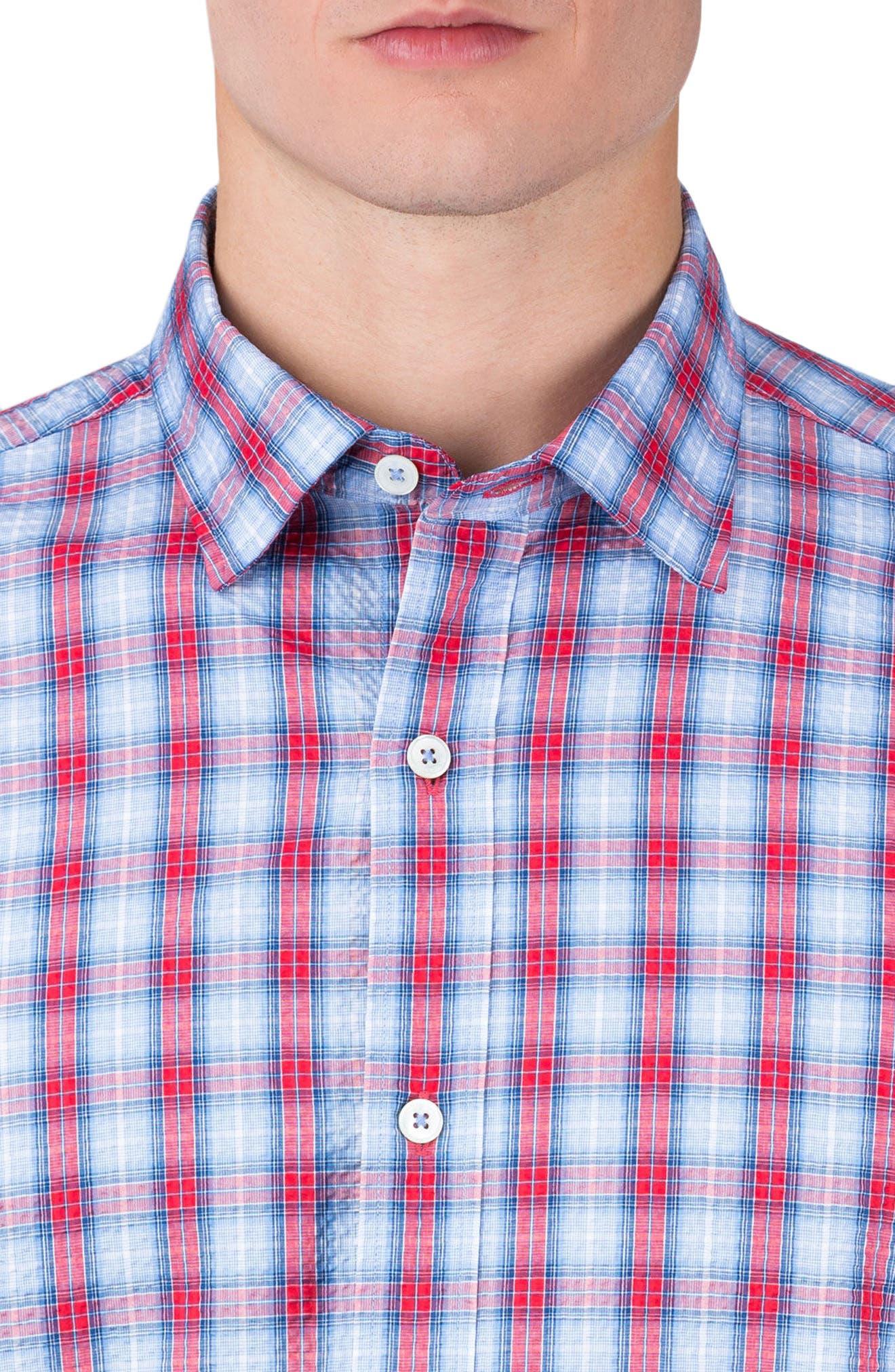 Shaped Fit Check Sport Shirt,                             Alternate thumbnail 3, color,                             602