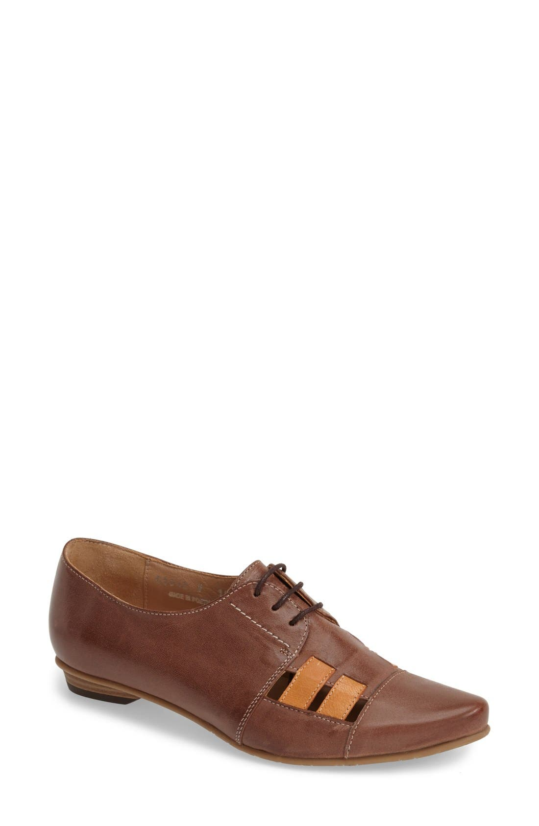 'V103' Leather Flat,                             Main thumbnail 1, color,                             BROWN