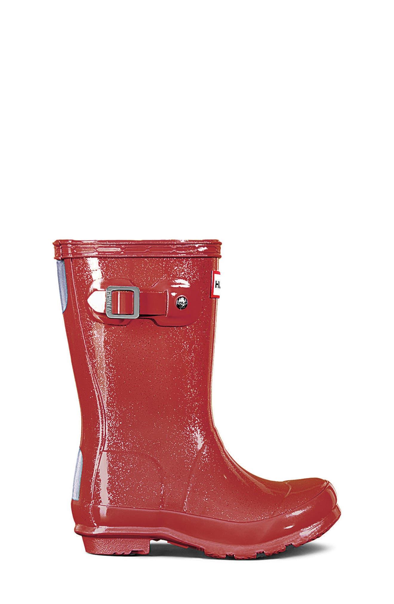 HUNTER,                             Original Glitter Rain Boot,                             Alternate thumbnail 3, color,                             625