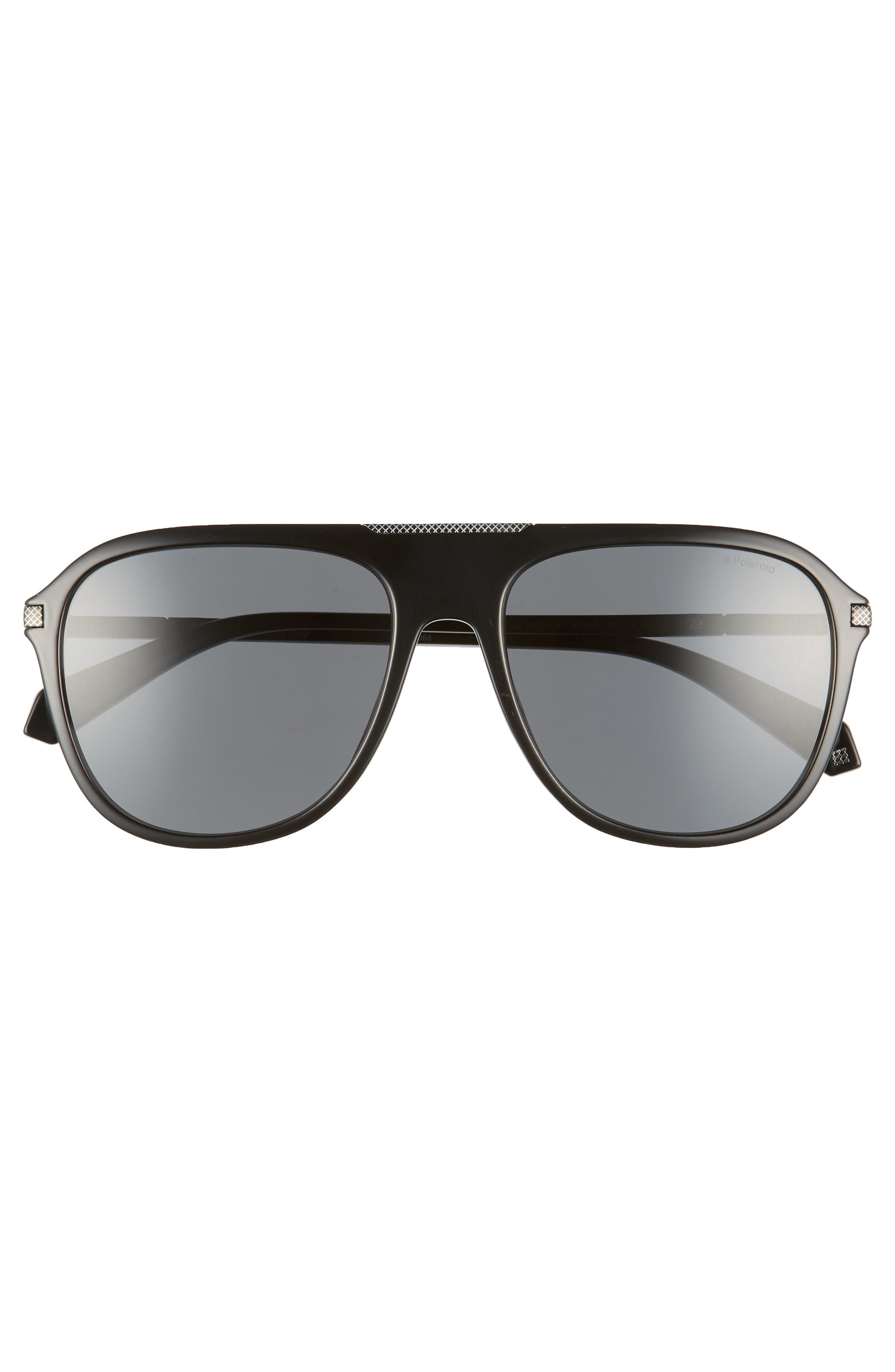 58mm Polarized Aviator Sunglasses,                             Alternate thumbnail 2, color,                             BLACK