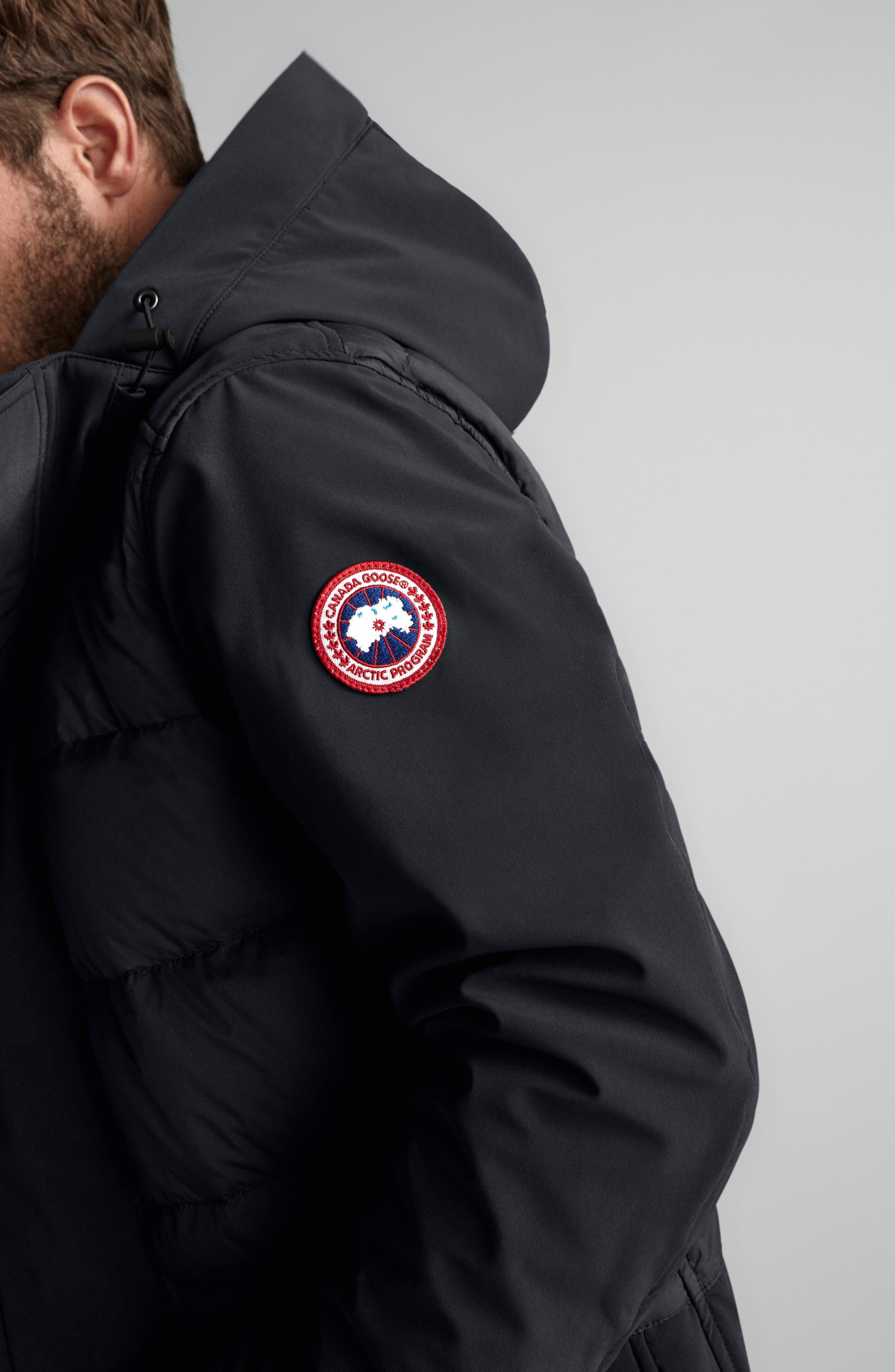 CANADA GOOSE,                             Breton 675-Fill Power Down Coat,                             Alternate thumbnail 9, color,                             BLACK