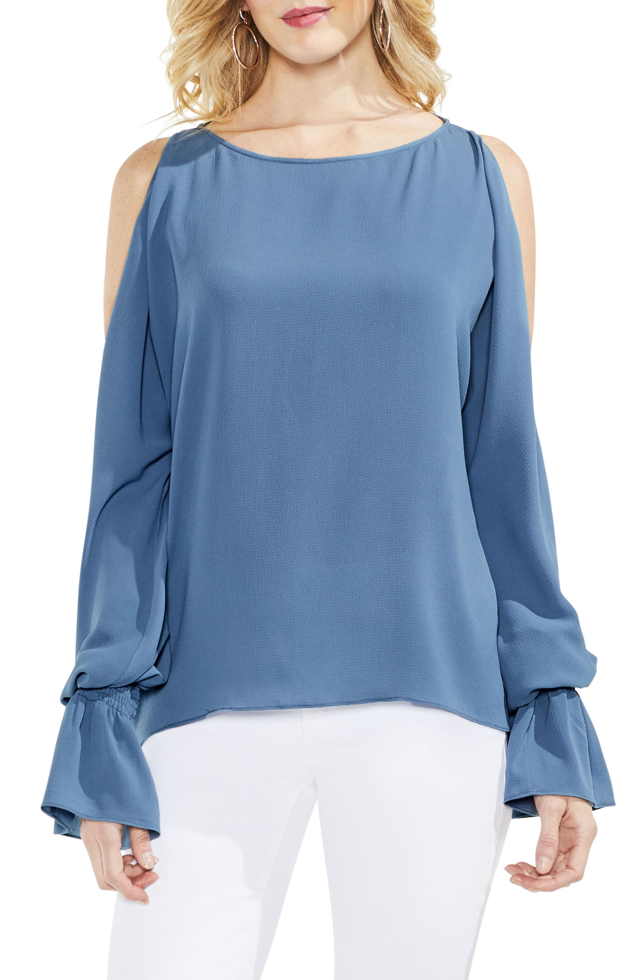 Cold Shoulder Flare Cuff Top,                             Main thumbnail 3, color,