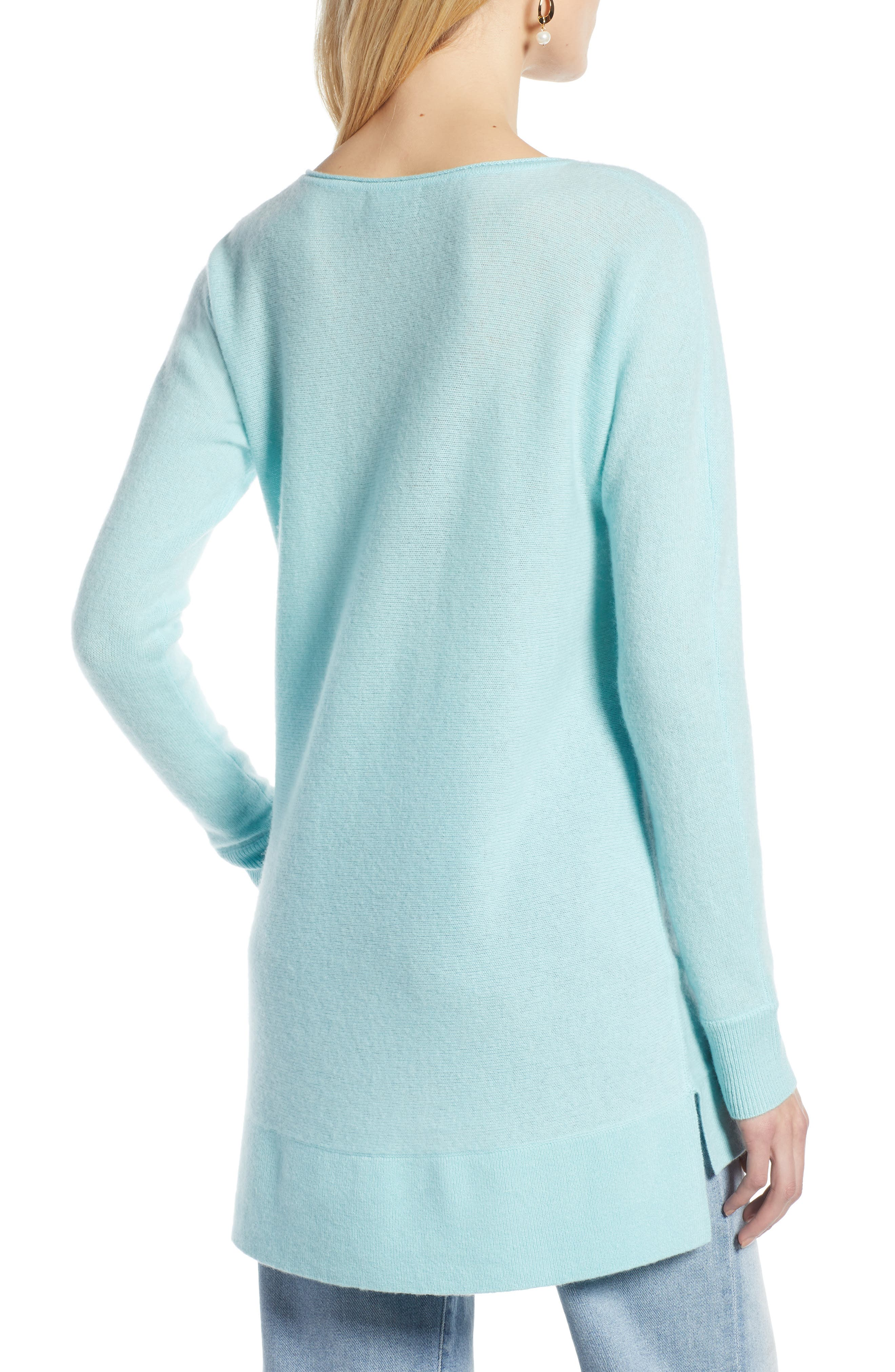 High/Low Wool & Cashmere Tunic Sweater,                             Alternate thumbnail 2, color,                             BLUE RESORT