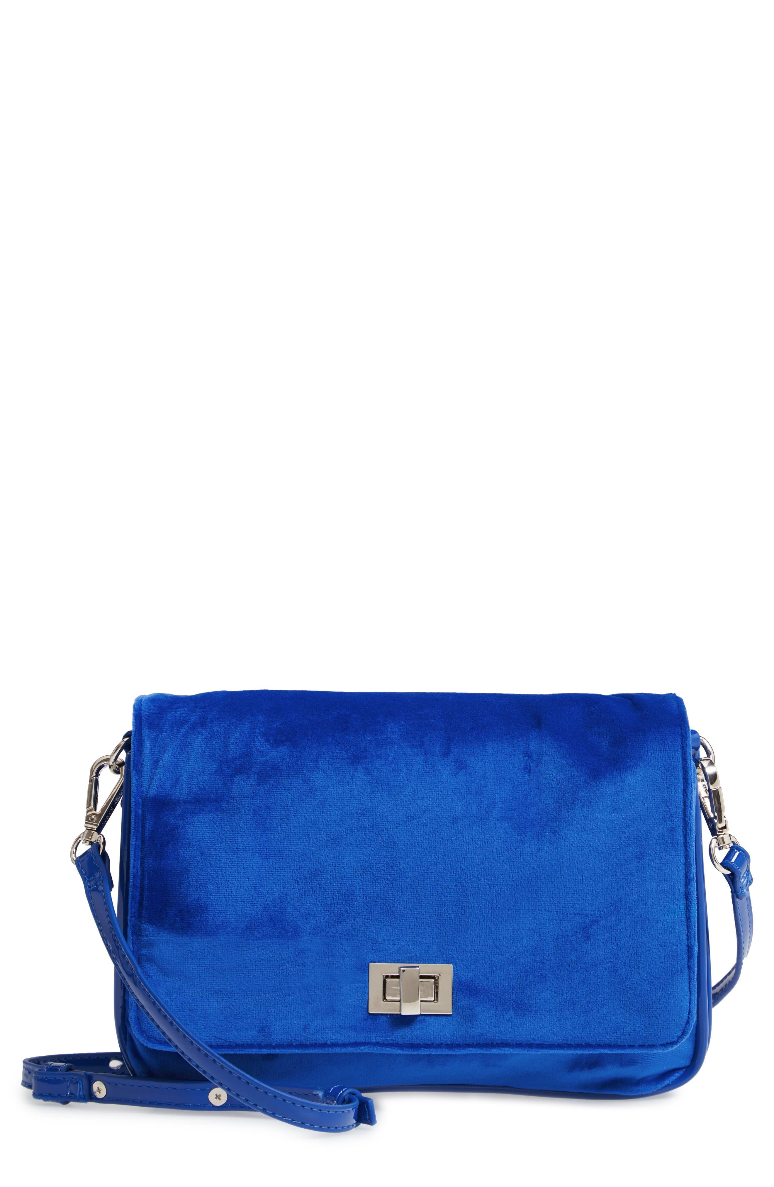 Velvet Crossbody Bag,                         Main,                         color, BLUE
