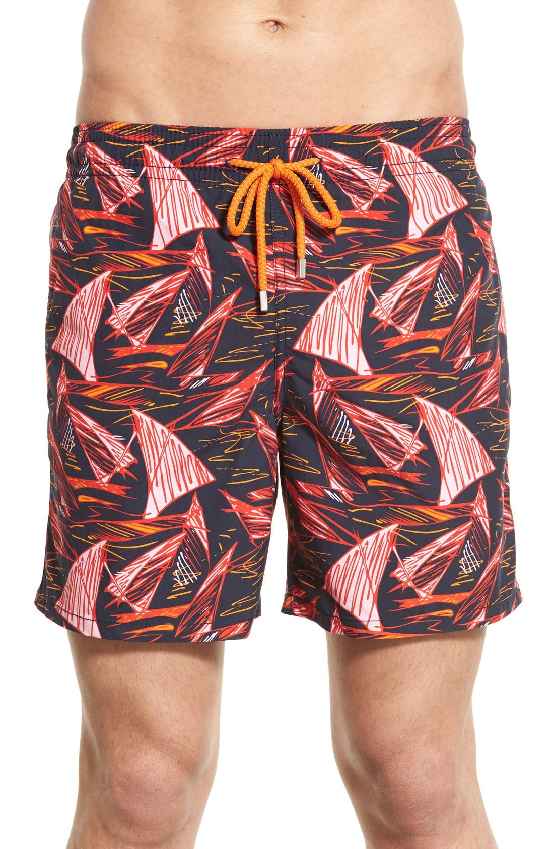 'Moorea' Print Swim Trunks,                             Main thumbnail 1, color,                             401