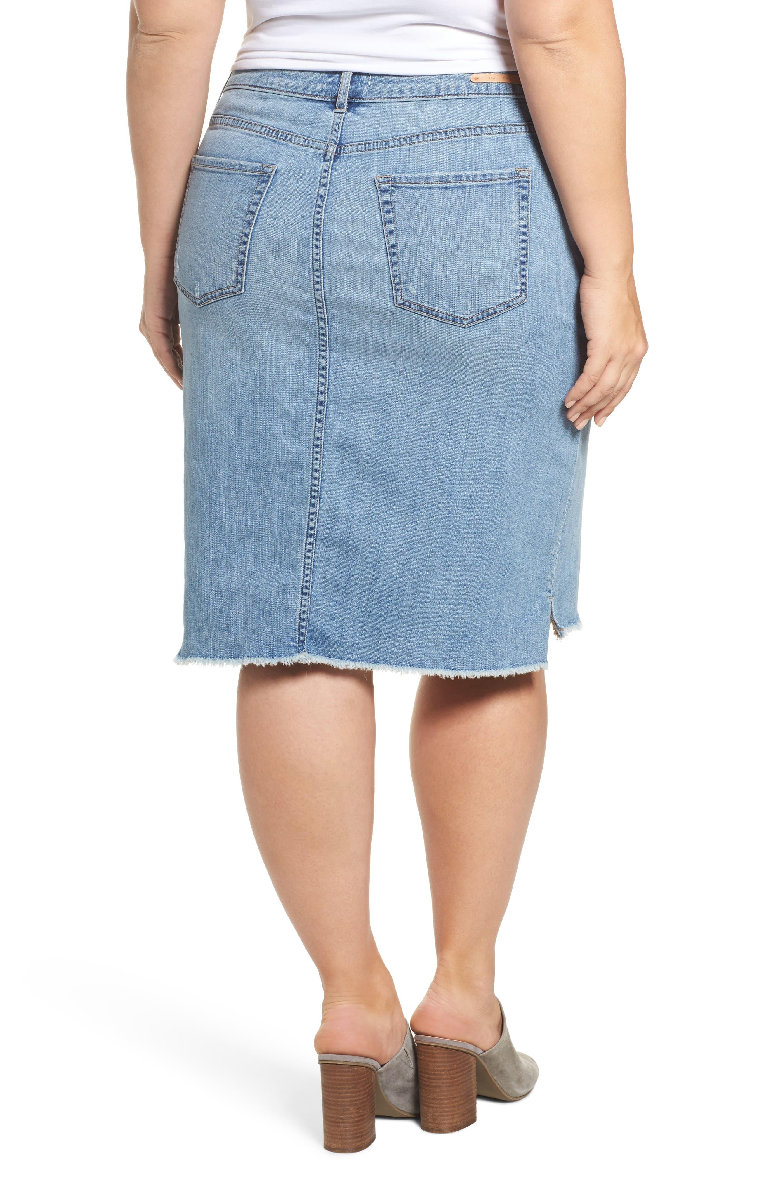 Raw Edge Denim Skirt,                             Alternate thumbnail 2, color,                             401