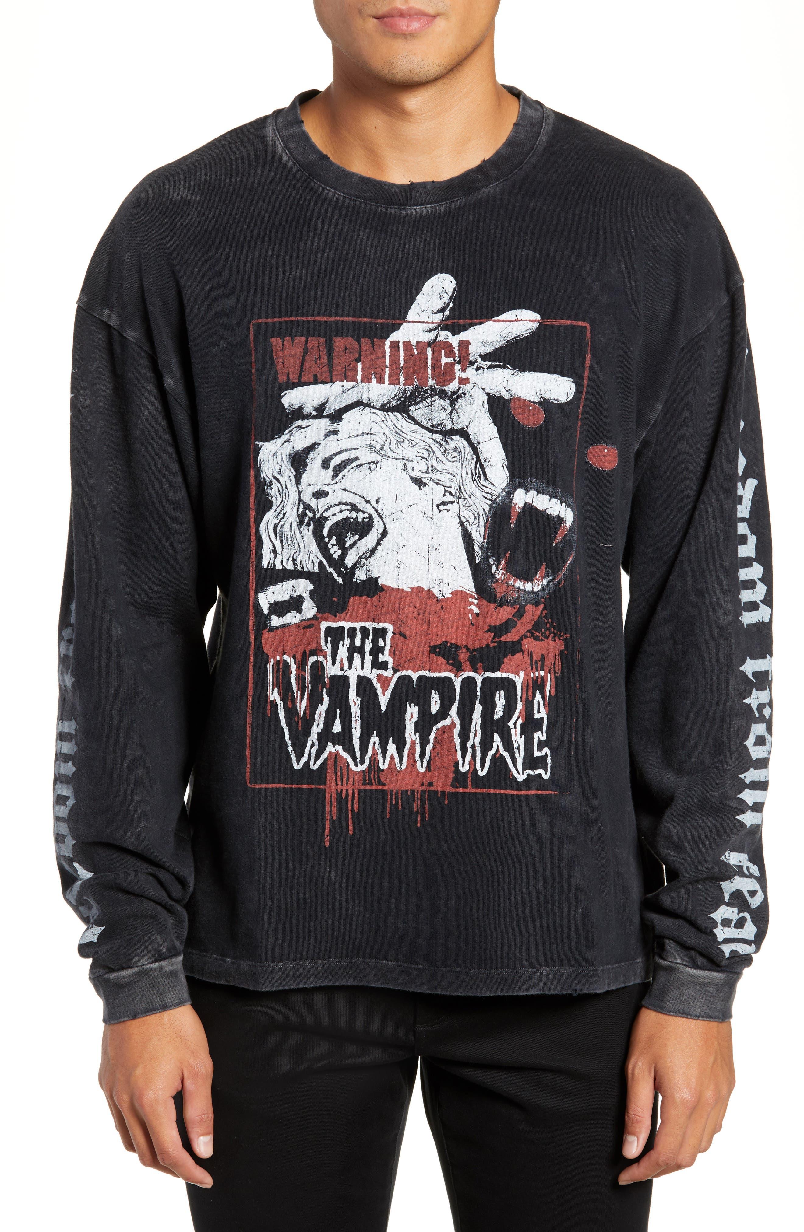Vampire Graphic Long Sleeve T-Shirt,                             Main thumbnail 1, color,                             BLACK