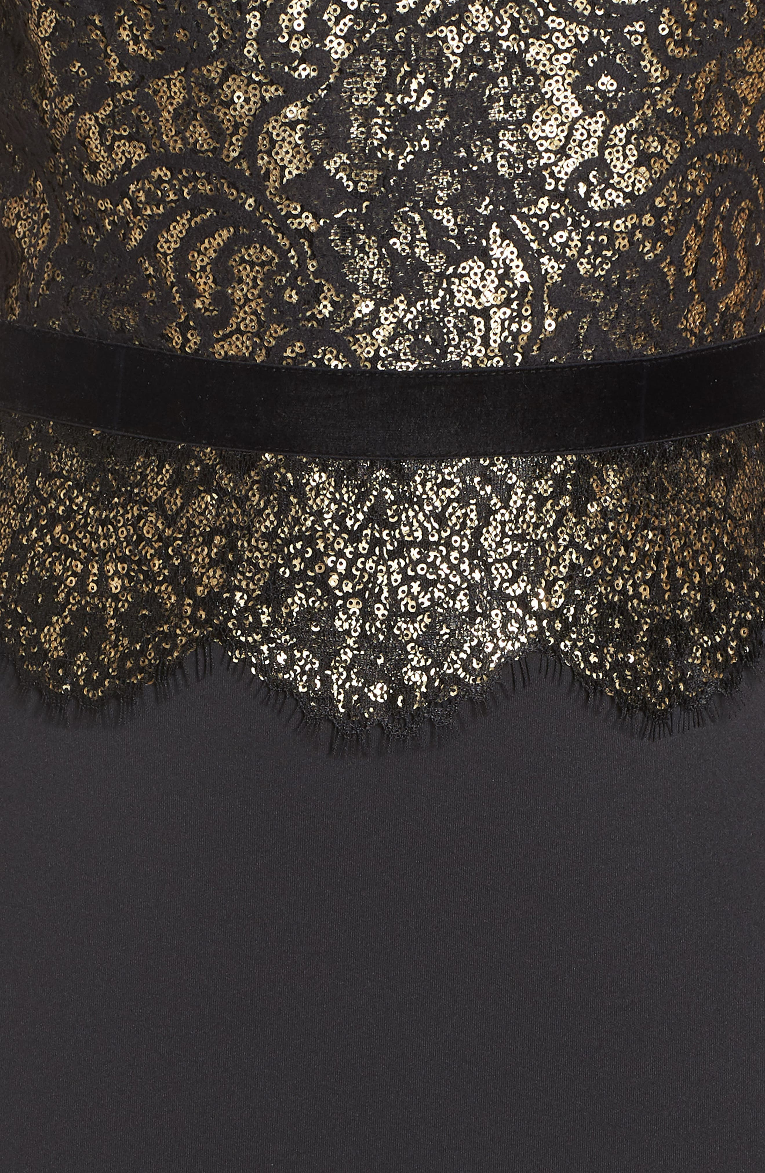 Lace Inset Scuba Dress,                             Alternate thumbnail 7, color,                             BLACK/ GOLD