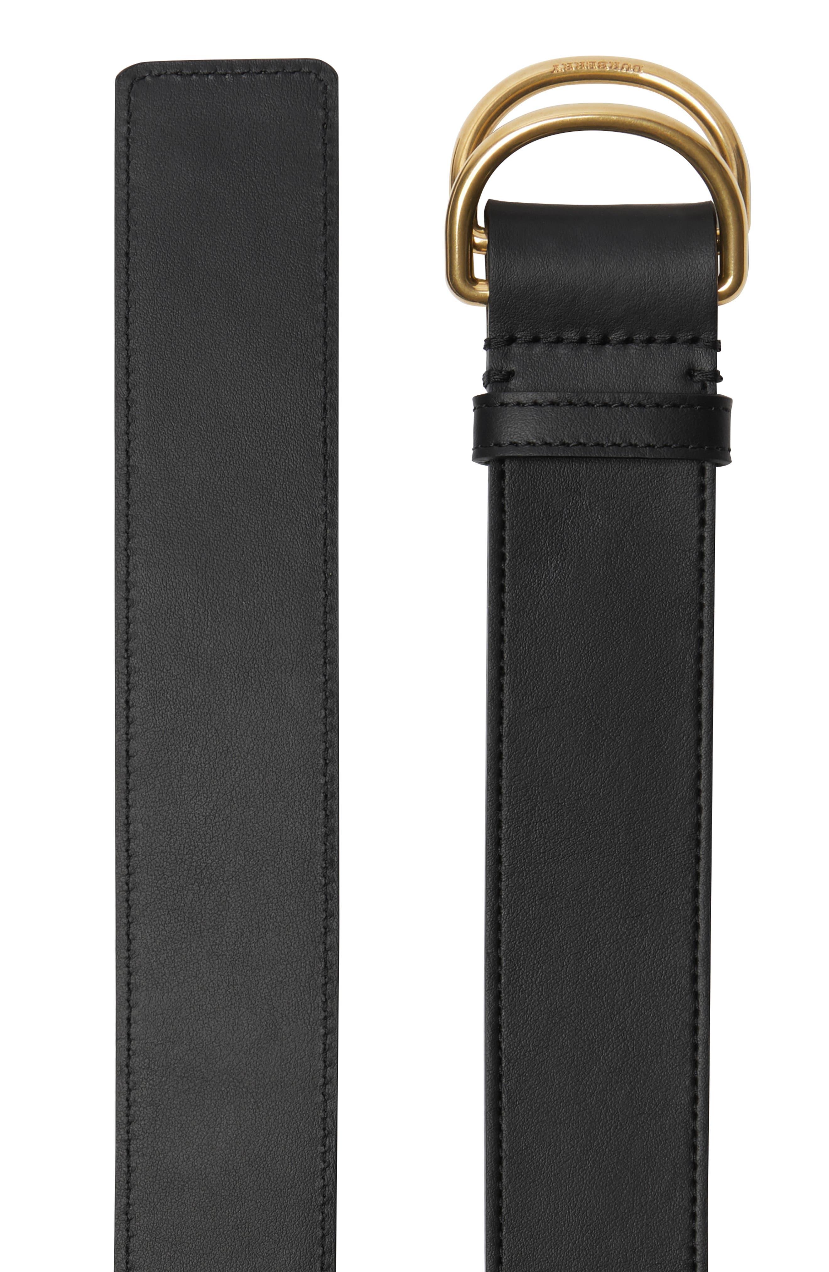 Double D Ring Reversible Calfskin Leather Belt,                             Alternate thumbnail 5, color,                             001