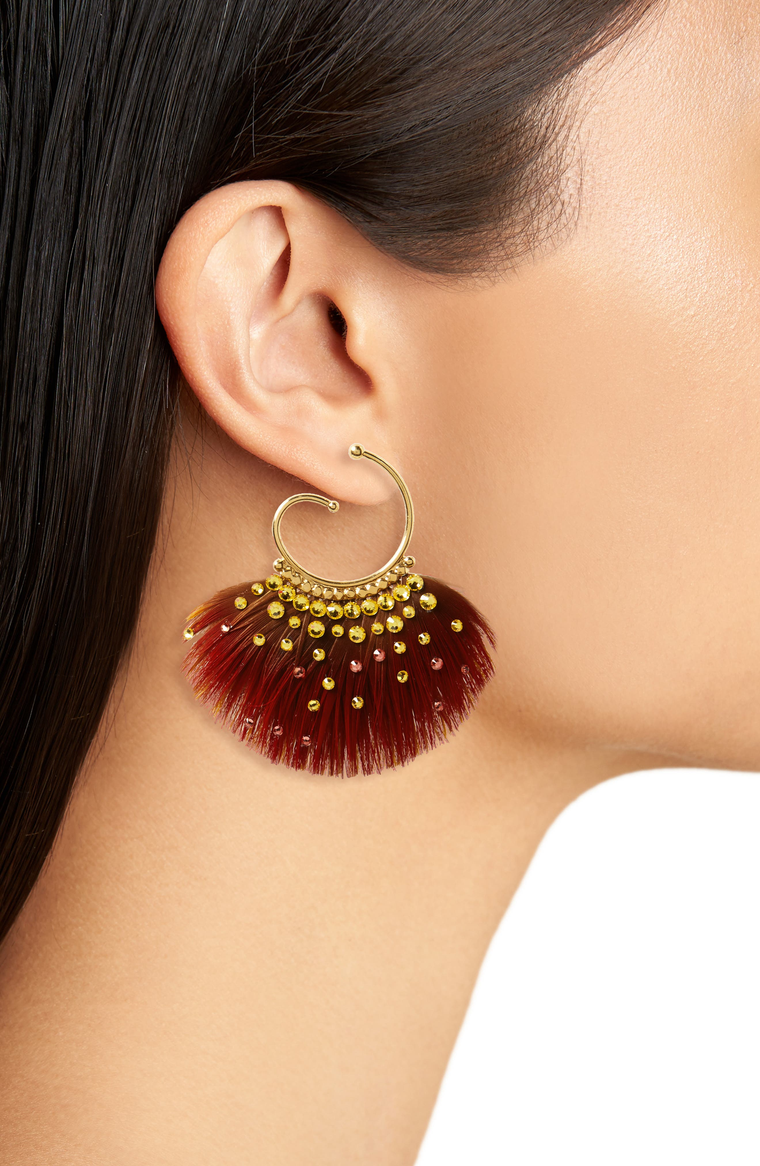Buzios Small Feather Earrings,                             Alternate thumbnail 2, color,                             800