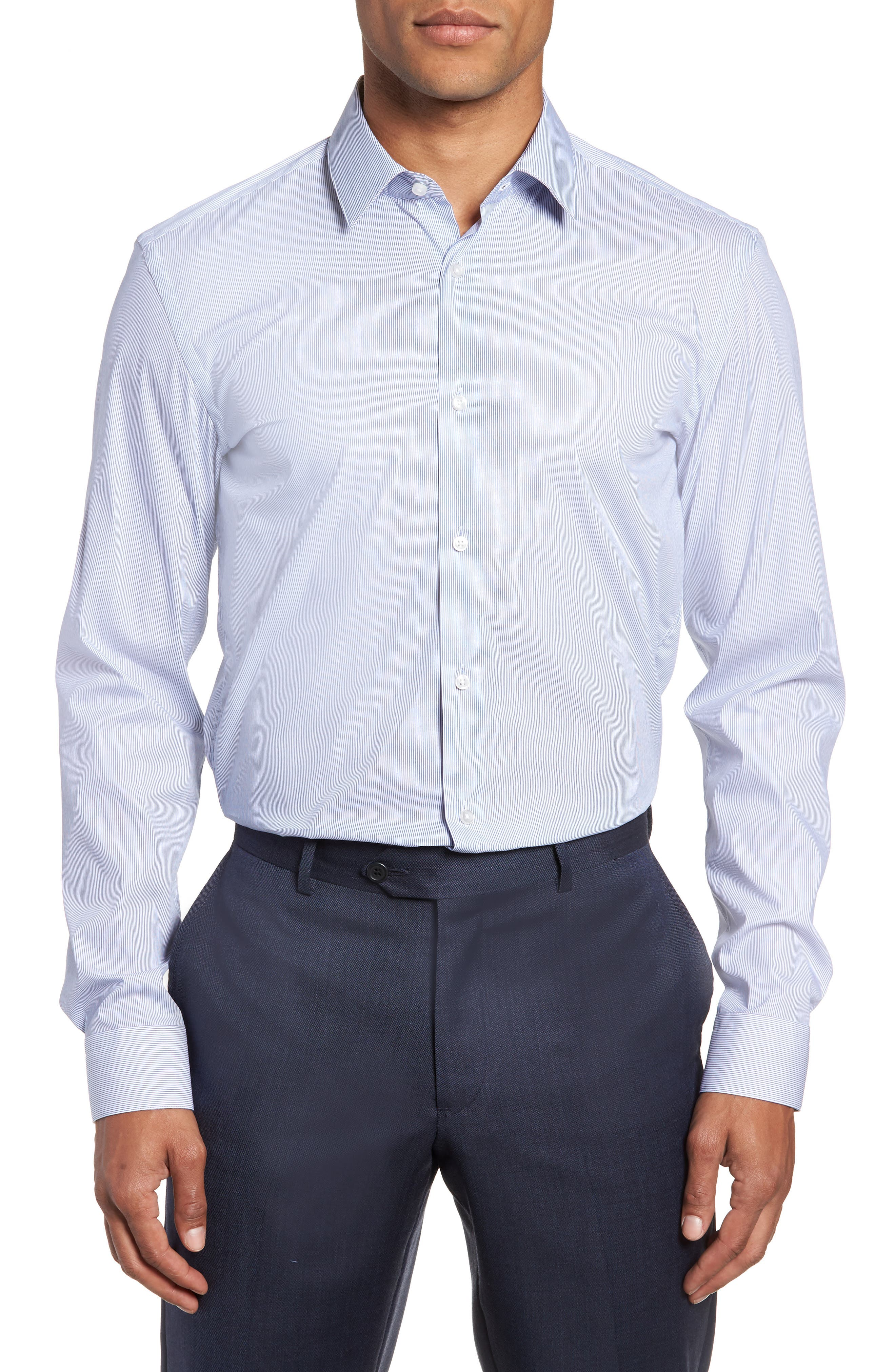Isko Slim Fit Stretch Stripe Dress Shirt,                         Main,                         color, BLUE