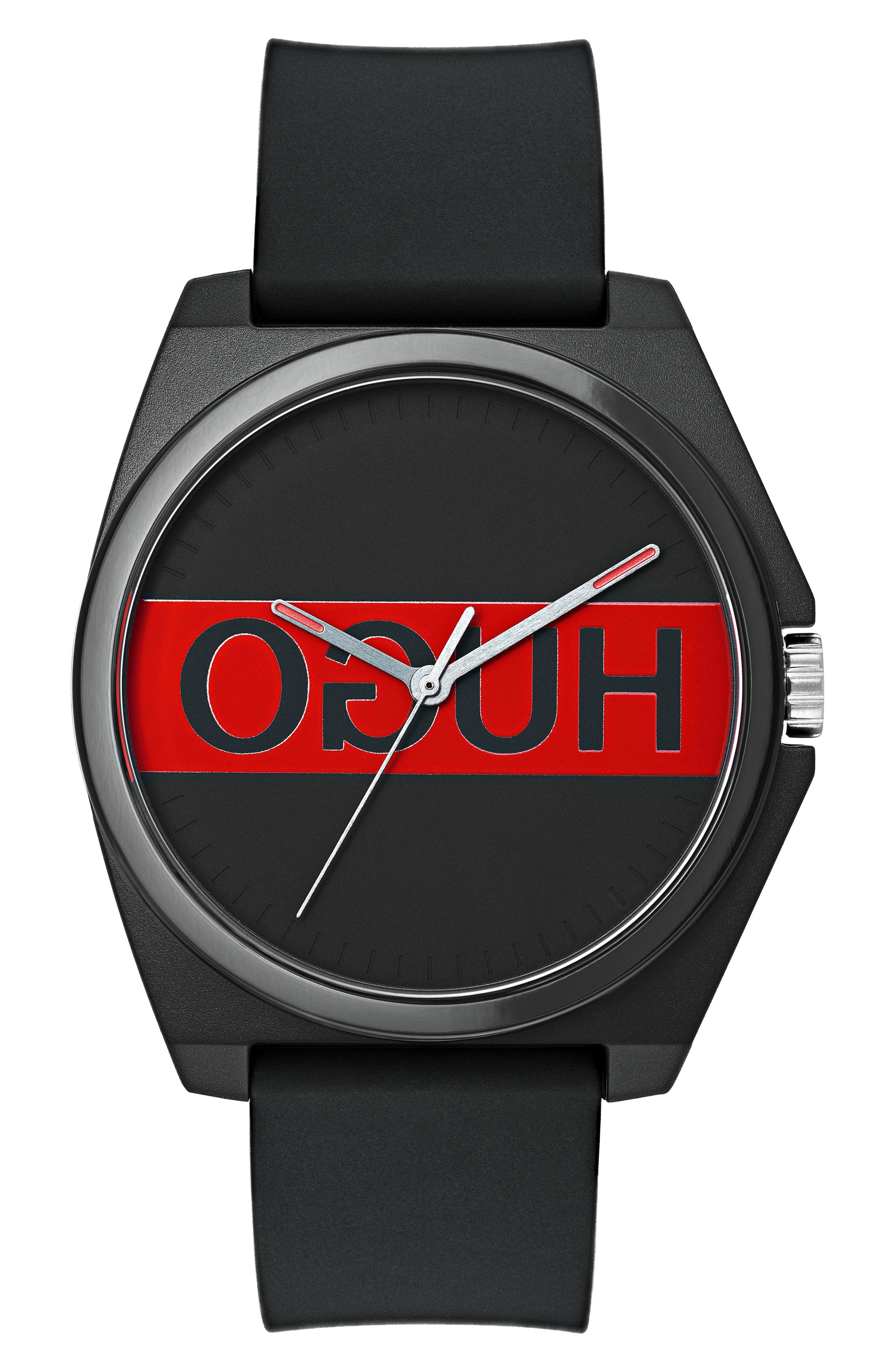 Play Rubber Strap Watch, 40mm,                             Main thumbnail 1, color,                             BLACK