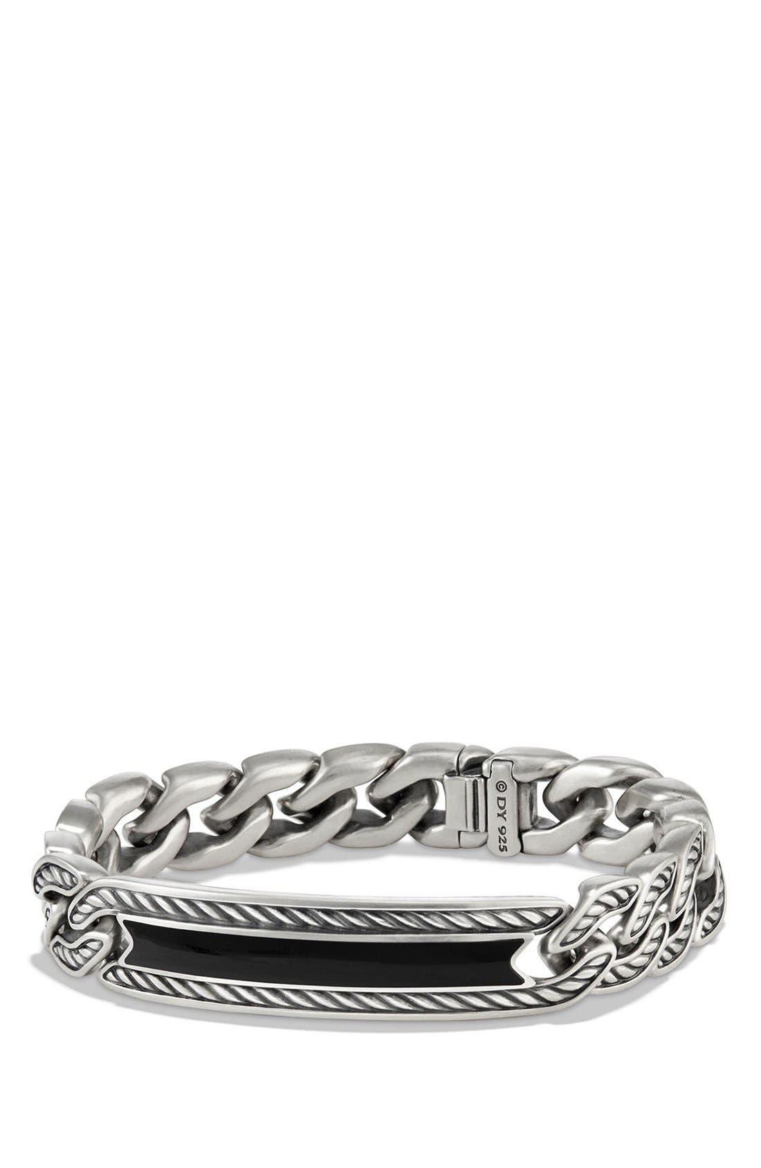 'Maritime' Curb Link ID Bracelet,                         Main,                         color, SILVER/ BLACK ONYX