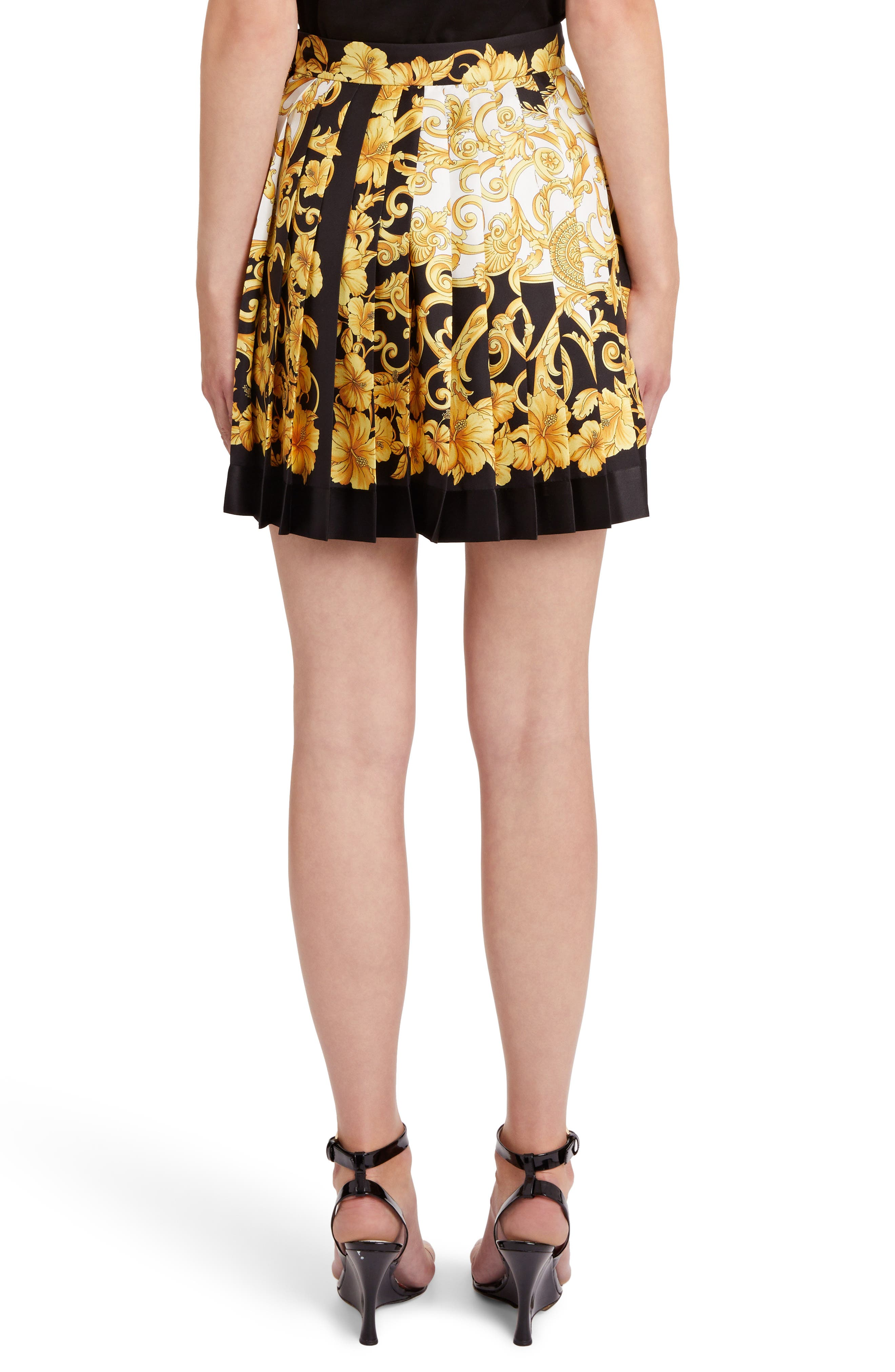 Hibiscus Print Pleated Silk Skirt,                             Alternate thumbnail 2, color,                             BLACK PRINT