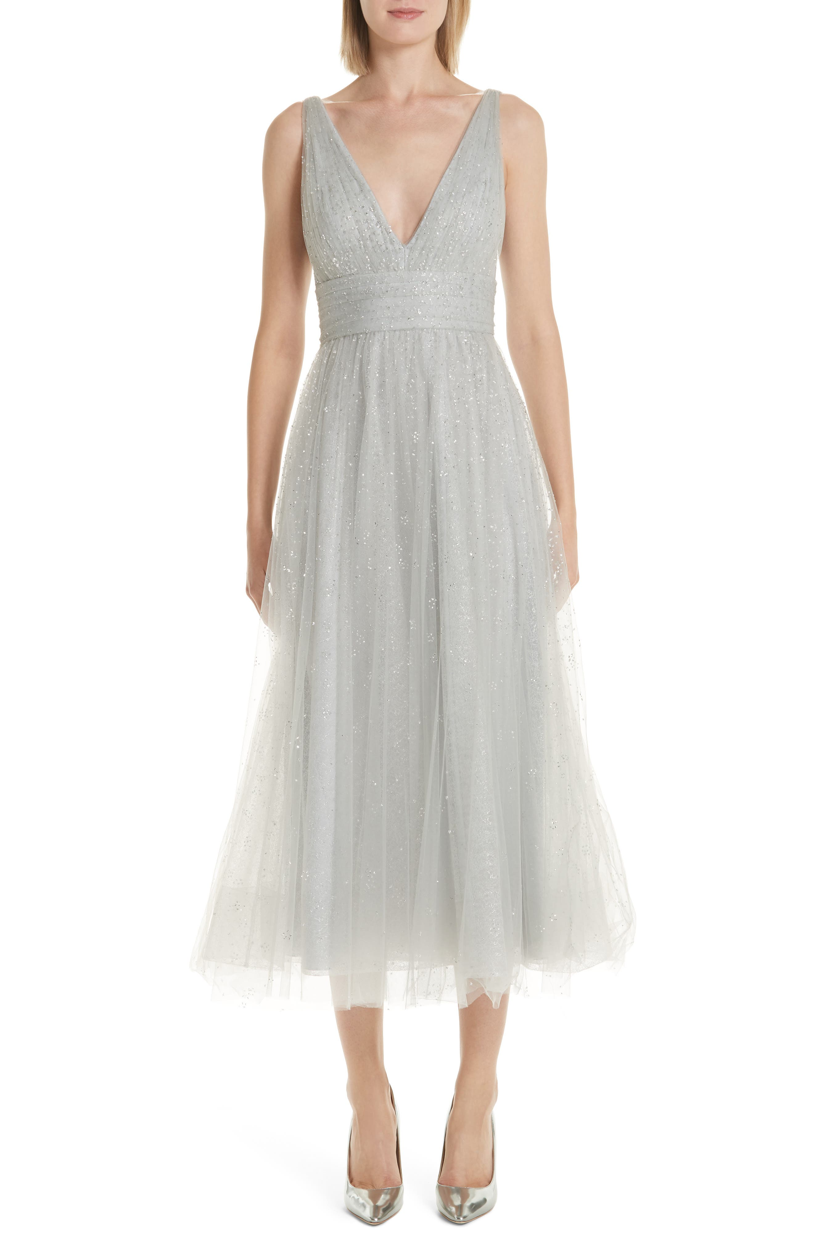 MARCHESA NOTTE,                             Glitter Tulle Tea Length Dress,                             Main thumbnail 1, color,                             SILVER
