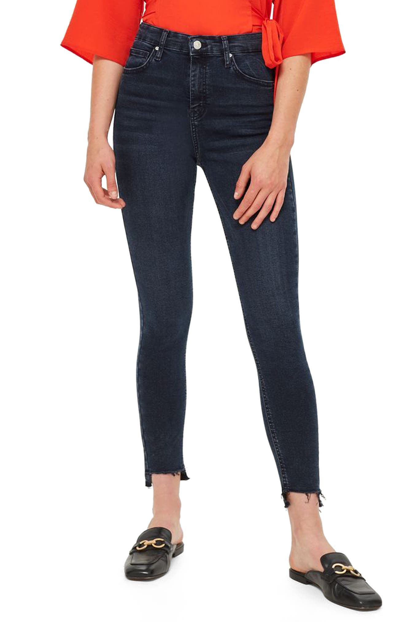 Jamie Step Hem Skinny Jeans,                             Main thumbnail 1, color,                             DARK BLUE