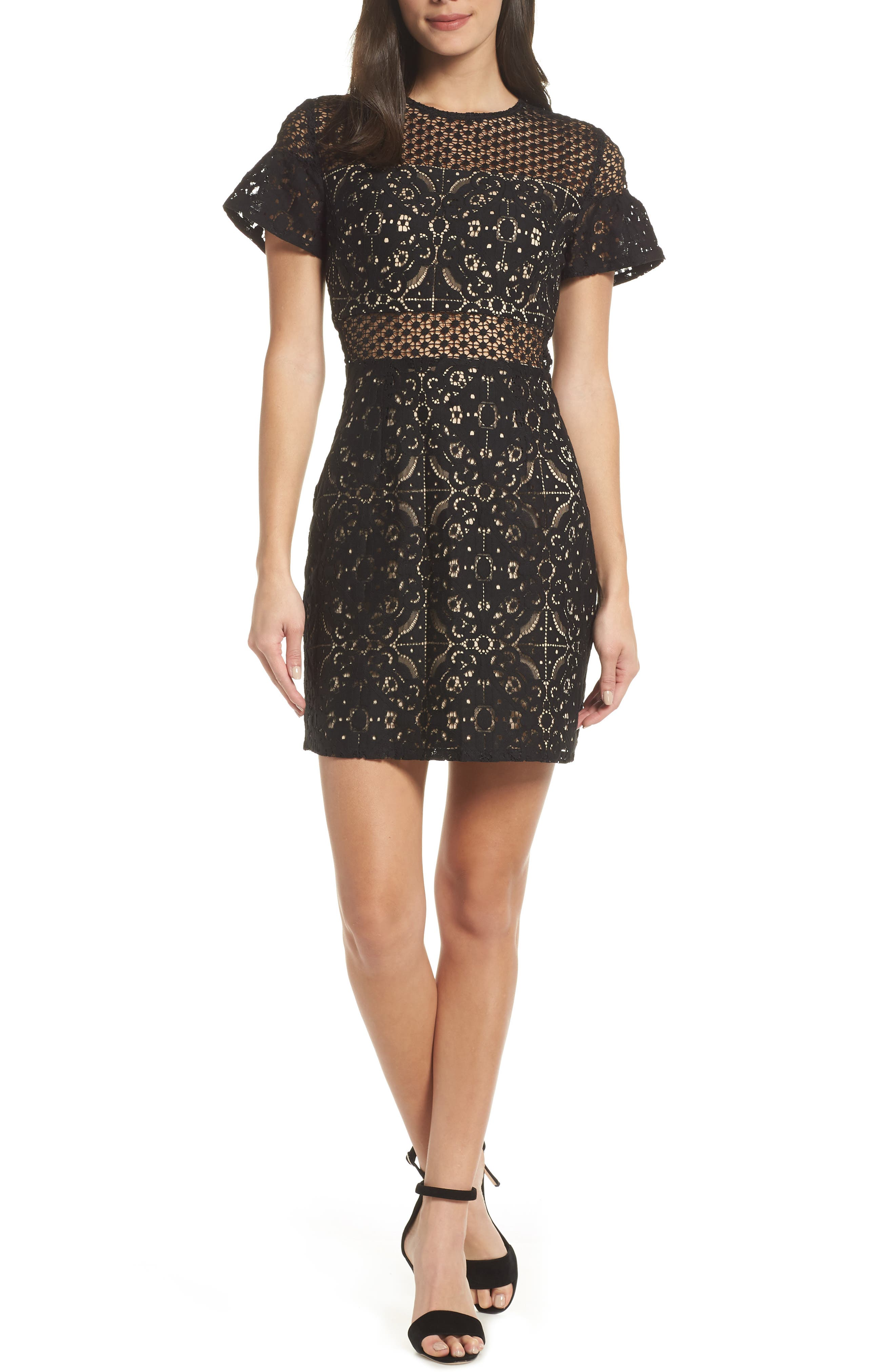 Brittney Ruffle Sleeve Lace Dress,                             Main thumbnail 1, color,                             BLACK