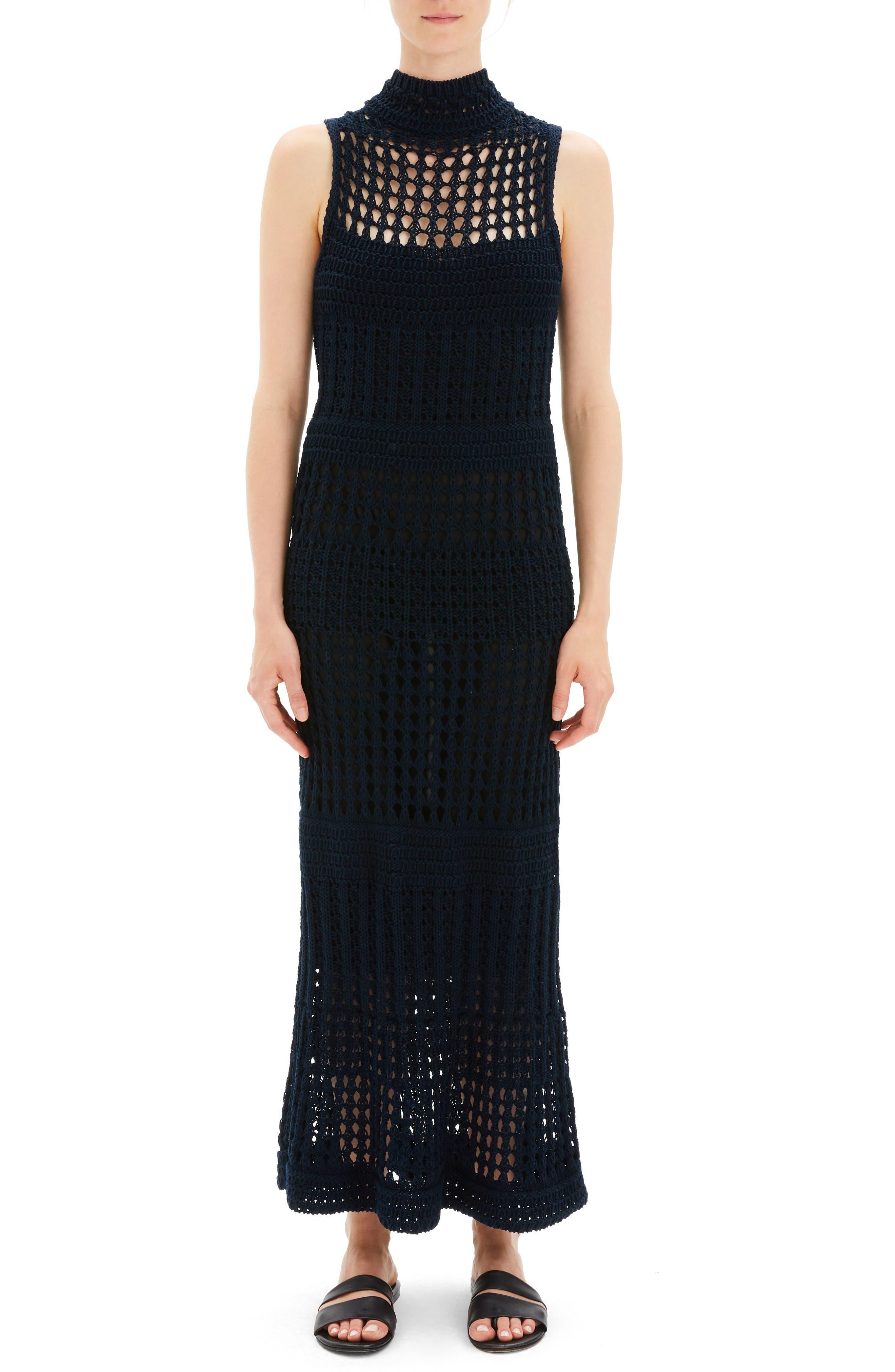 Mixed Knit Maxi Dress, Main, color, DEEP NAVY