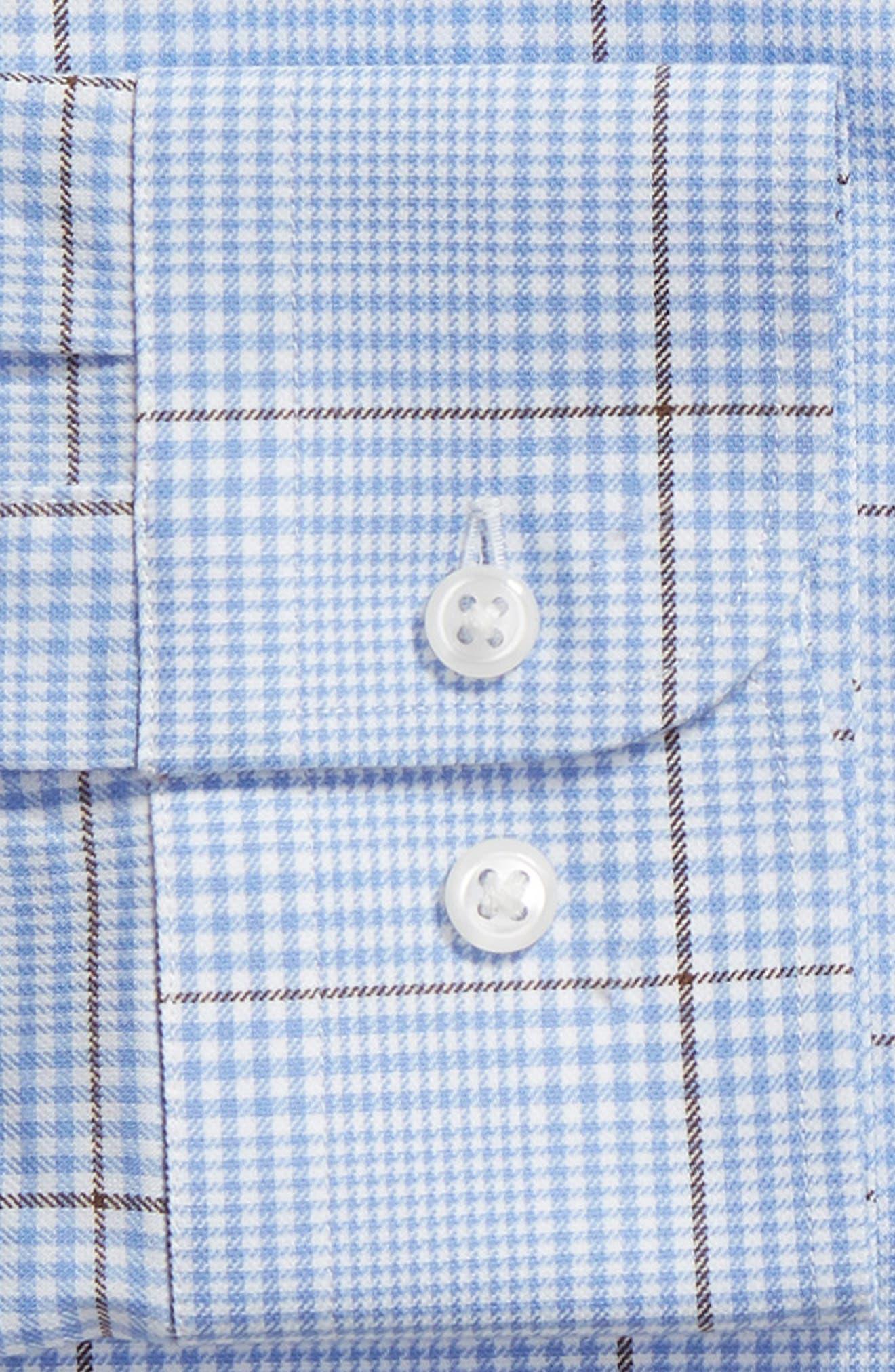 Tech-Smart Trim Fit Stretch Plaid Dress Shirt,                             Alternate thumbnail 6, color,                             BLUE HAZE