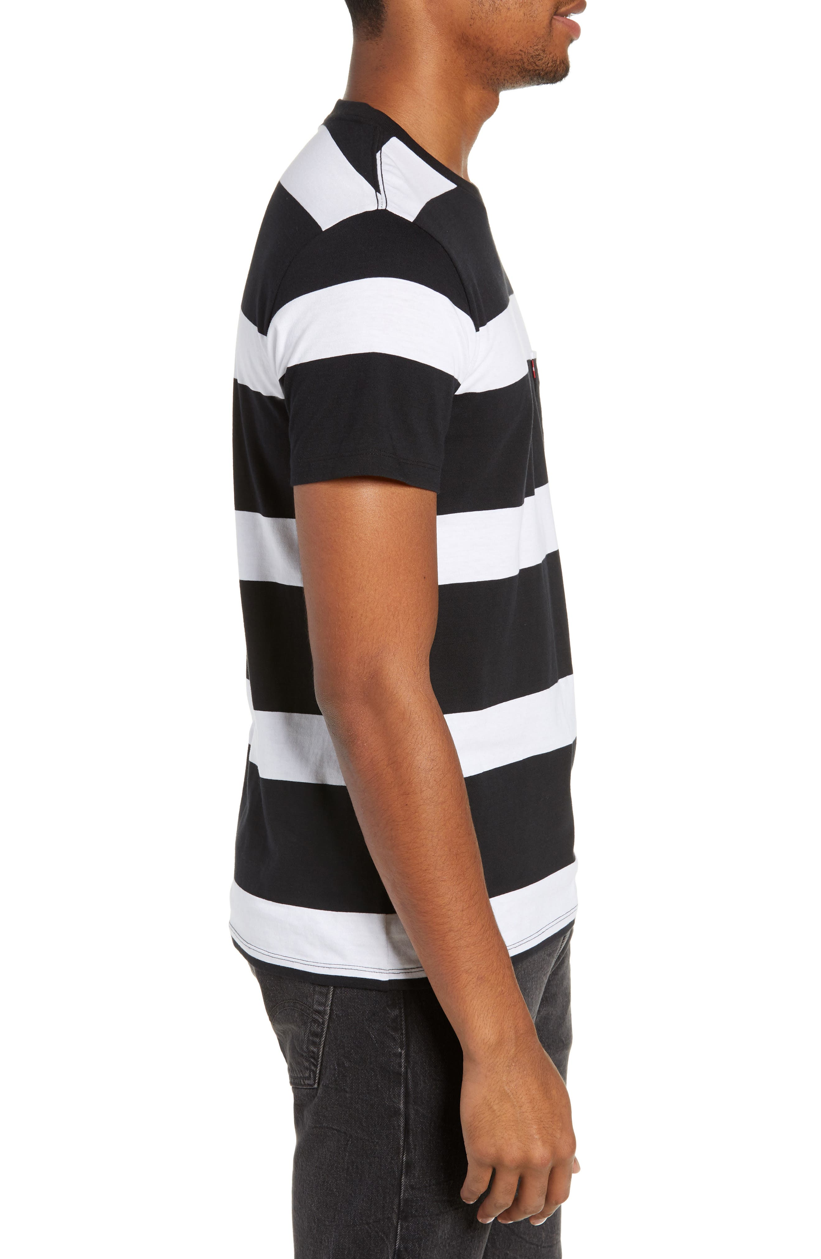 Pocket T-Shirt,                             Alternate thumbnail 3, color,                             BLACK/ WHITE STRIPES