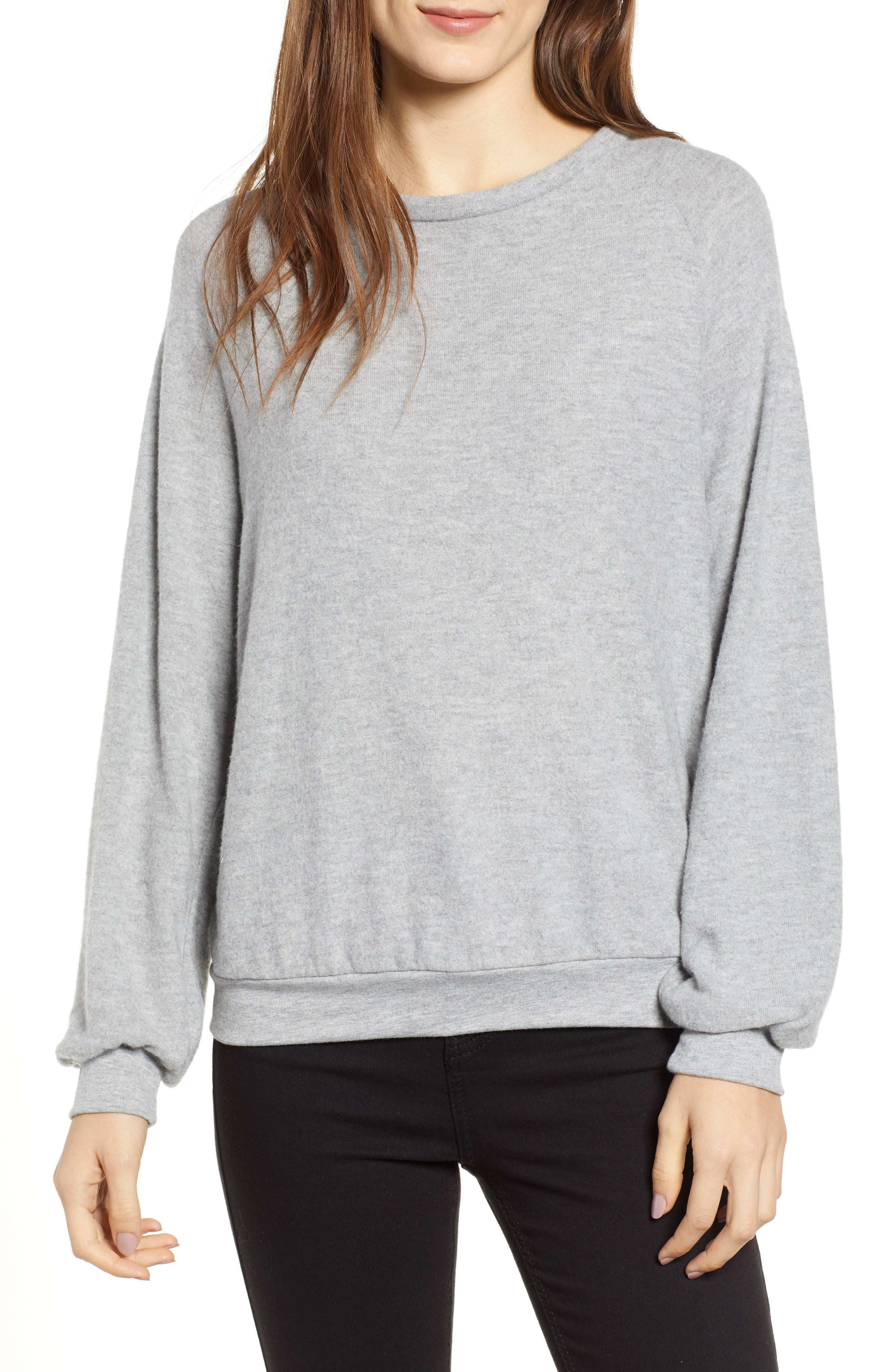 After Hours Open Back Sweatshirt,                             Main thumbnail 1, color,                             HEATHER GREY